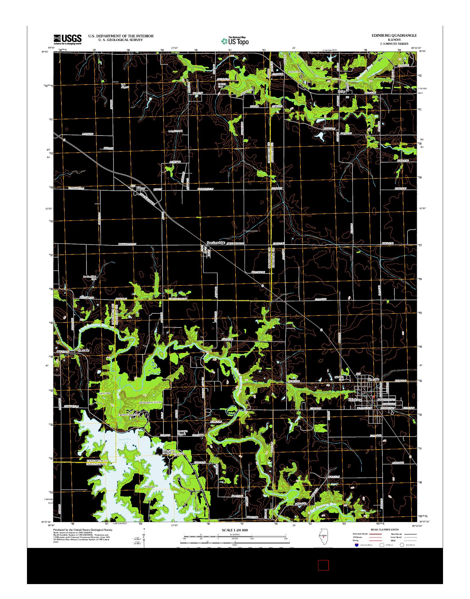 USGS US TOPO 7.5-MINUTE MAP FOR EDINBURG, IL 2012
