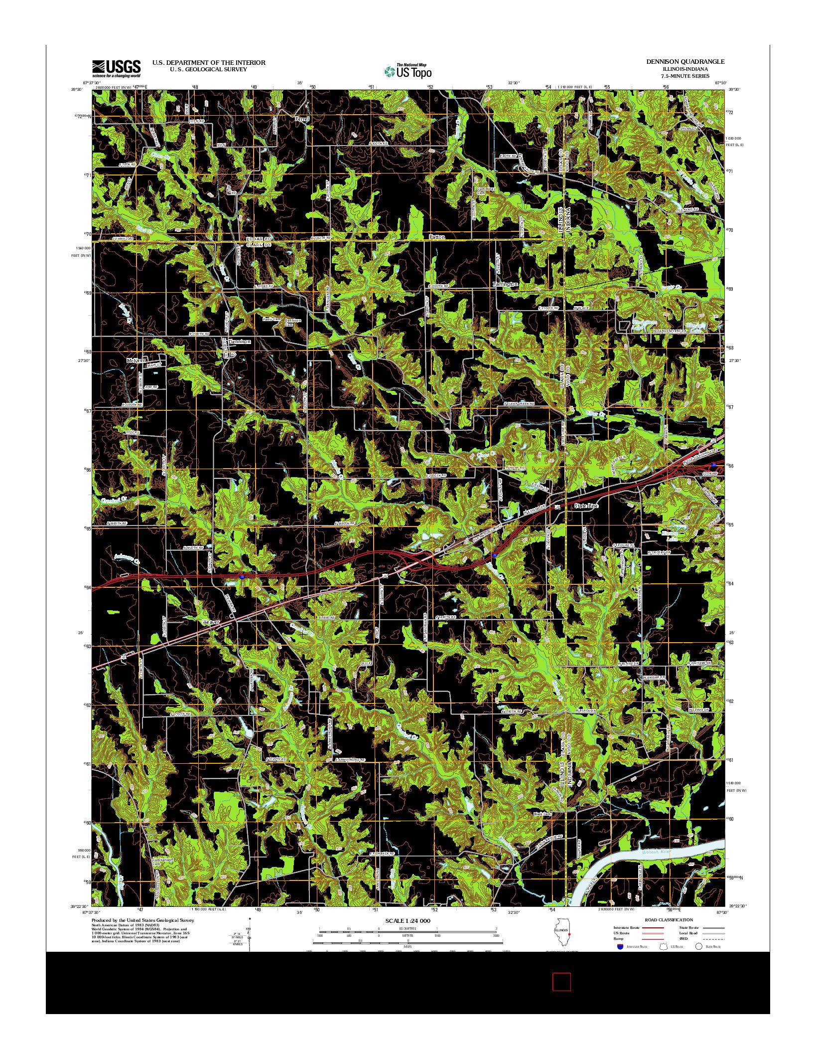 USGS US TOPO 7.5-MINUTE MAP FOR DENNISON, IL-IN 2012