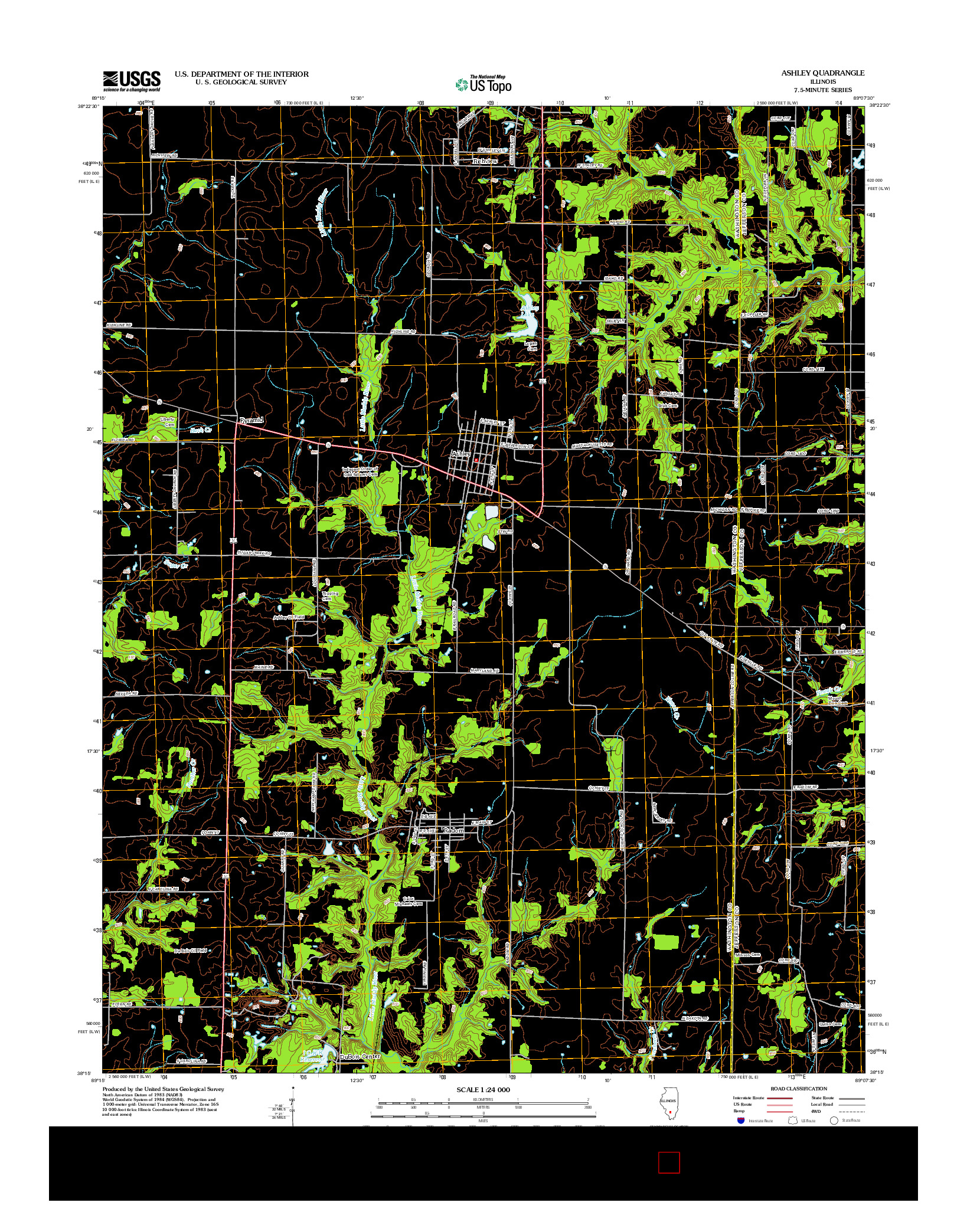 USGS US TOPO 7.5-MINUTE MAP FOR ASHLEY, IL 2012