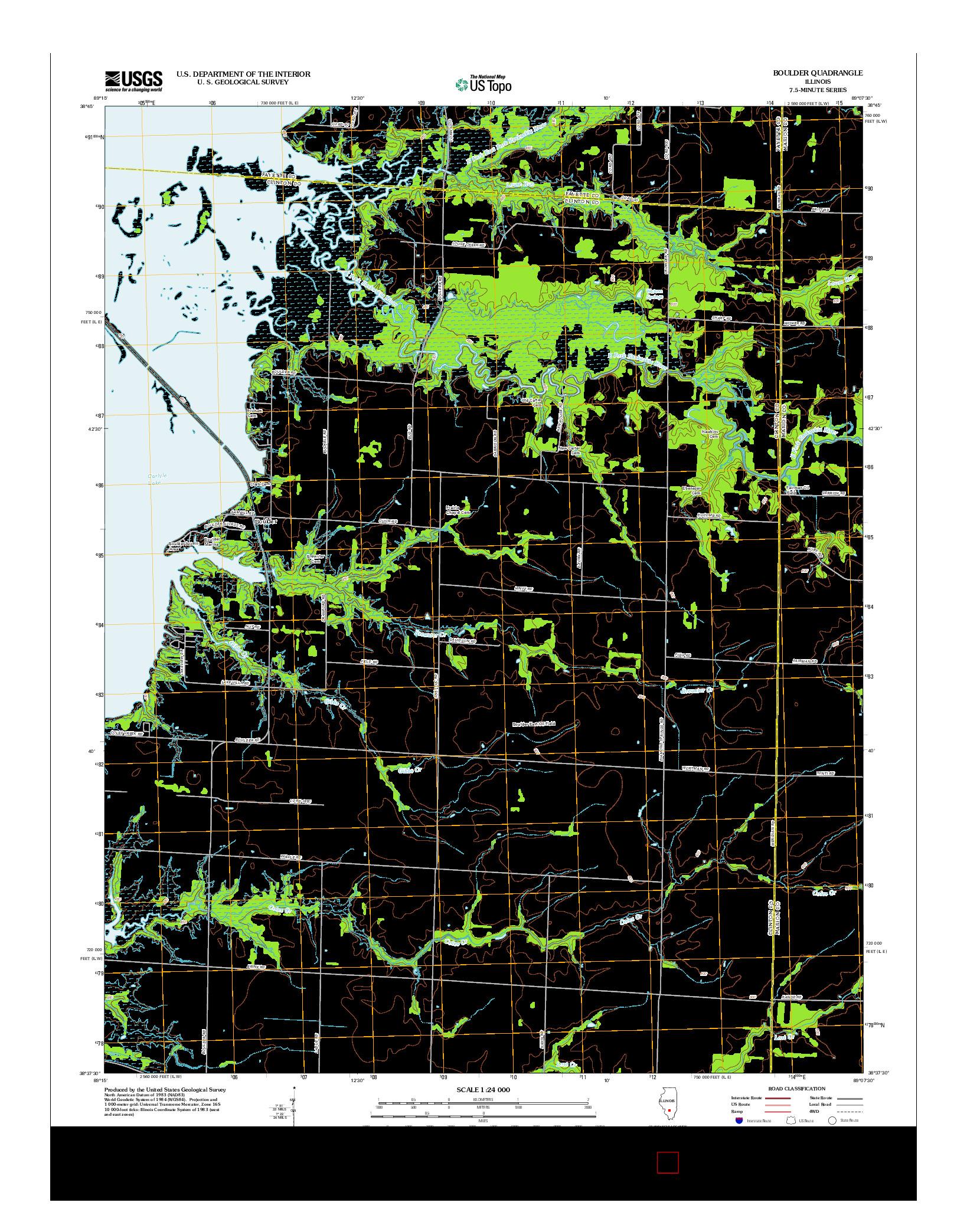 USGS US TOPO 7.5-MINUTE MAP FOR BOULDER, IL 2012