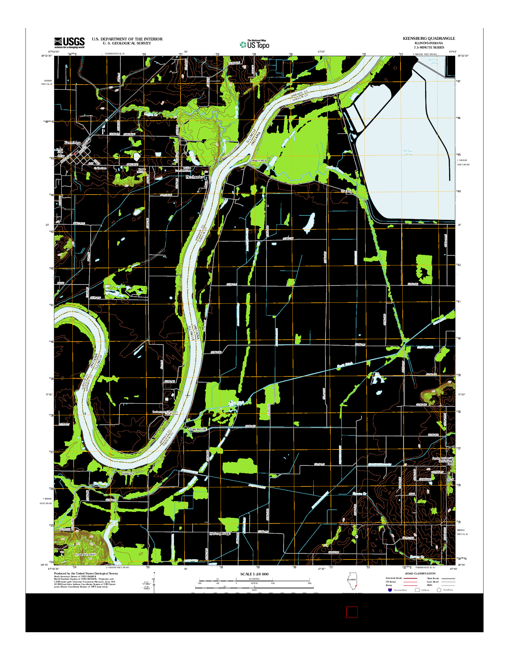 USGS US TOPO 7.5-MINUTE MAP FOR KEENSBURG, IL-IN 2012