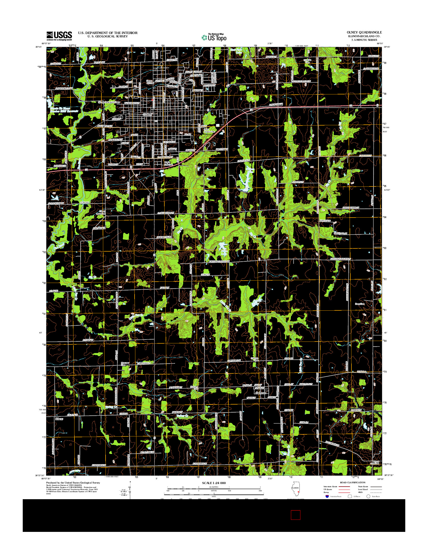 USGS US TOPO 7.5-MINUTE MAP FOR OLNEY, IL 2012