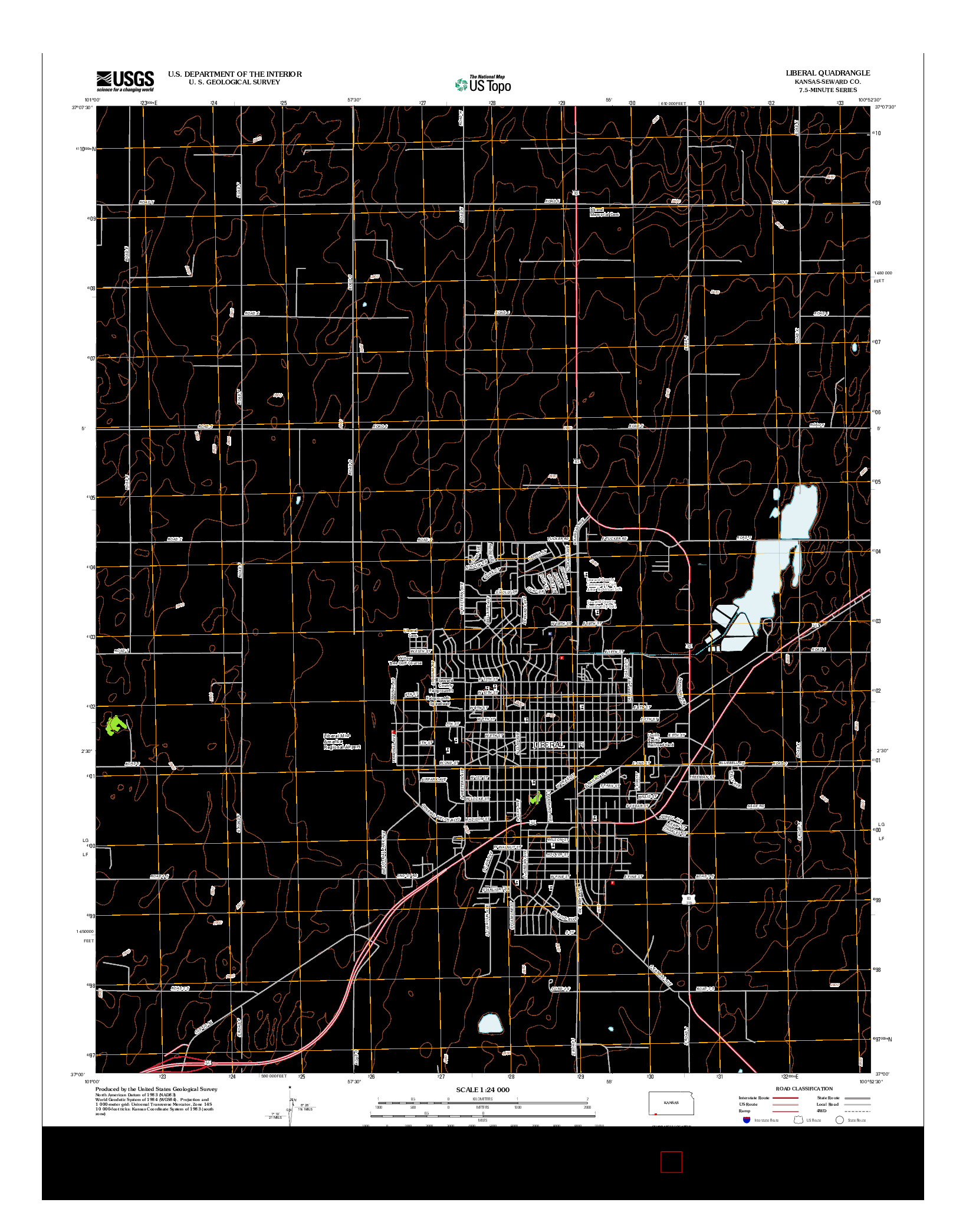 USGS US TOPO 7.5-MINUTE MAP FOR LIBERAL, KS 2012