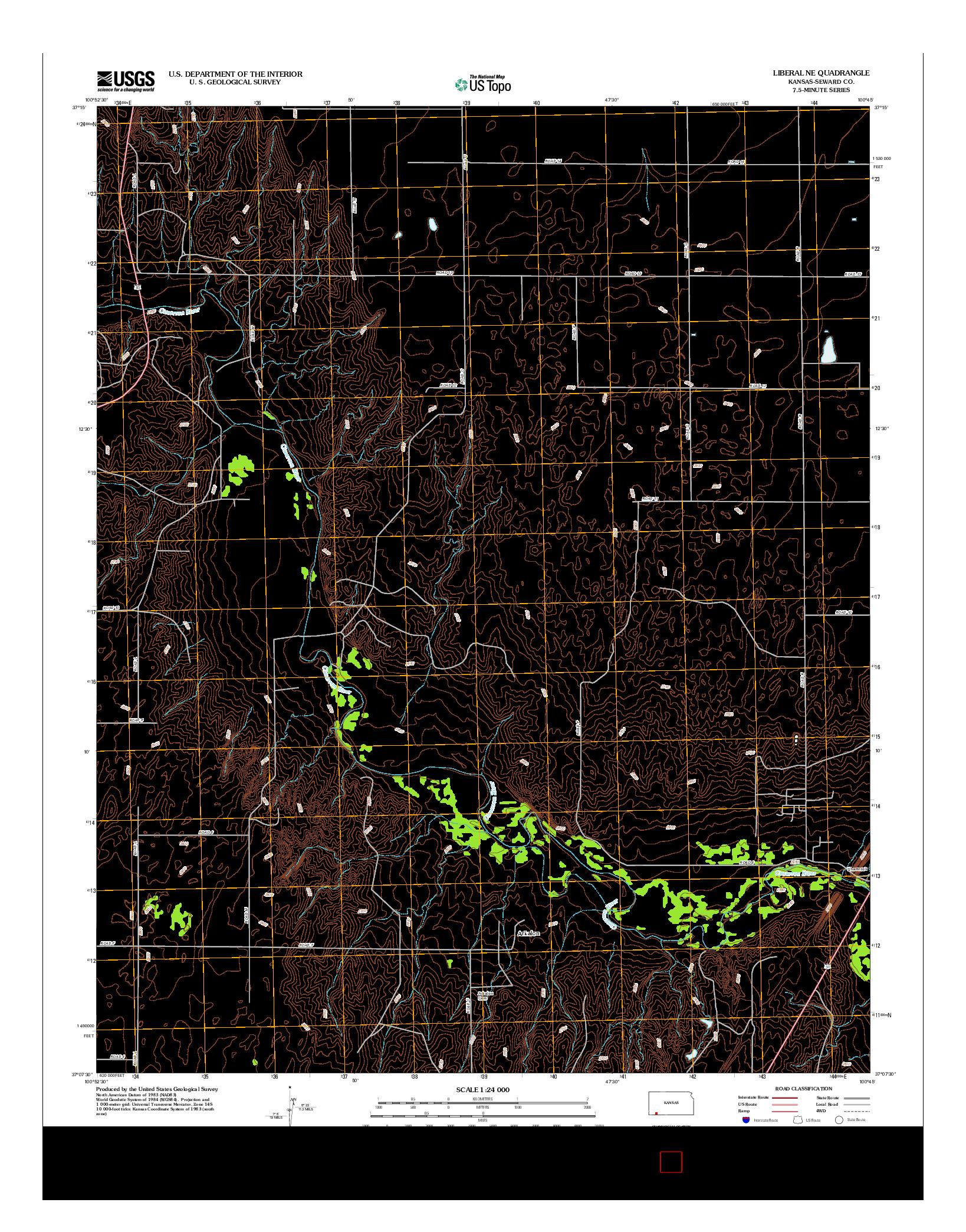 USGS US TOPO 7.5-MINUTE MAP FOR LIBERAL NE, KS 2012