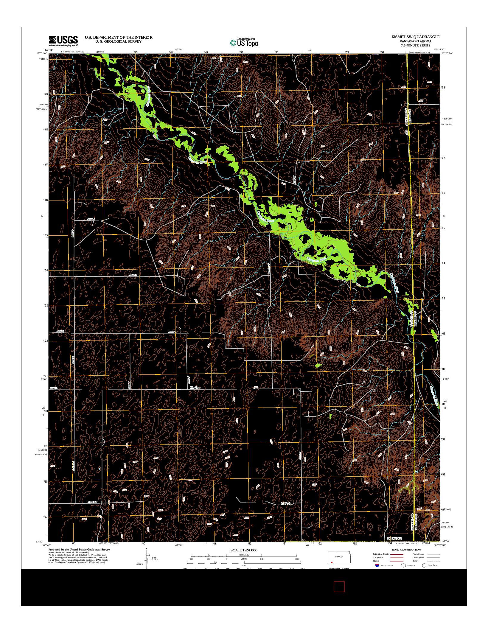 USGS US TOPO 7.5-MINUTE MAP FOR KISMET SW, KS-OK 2012