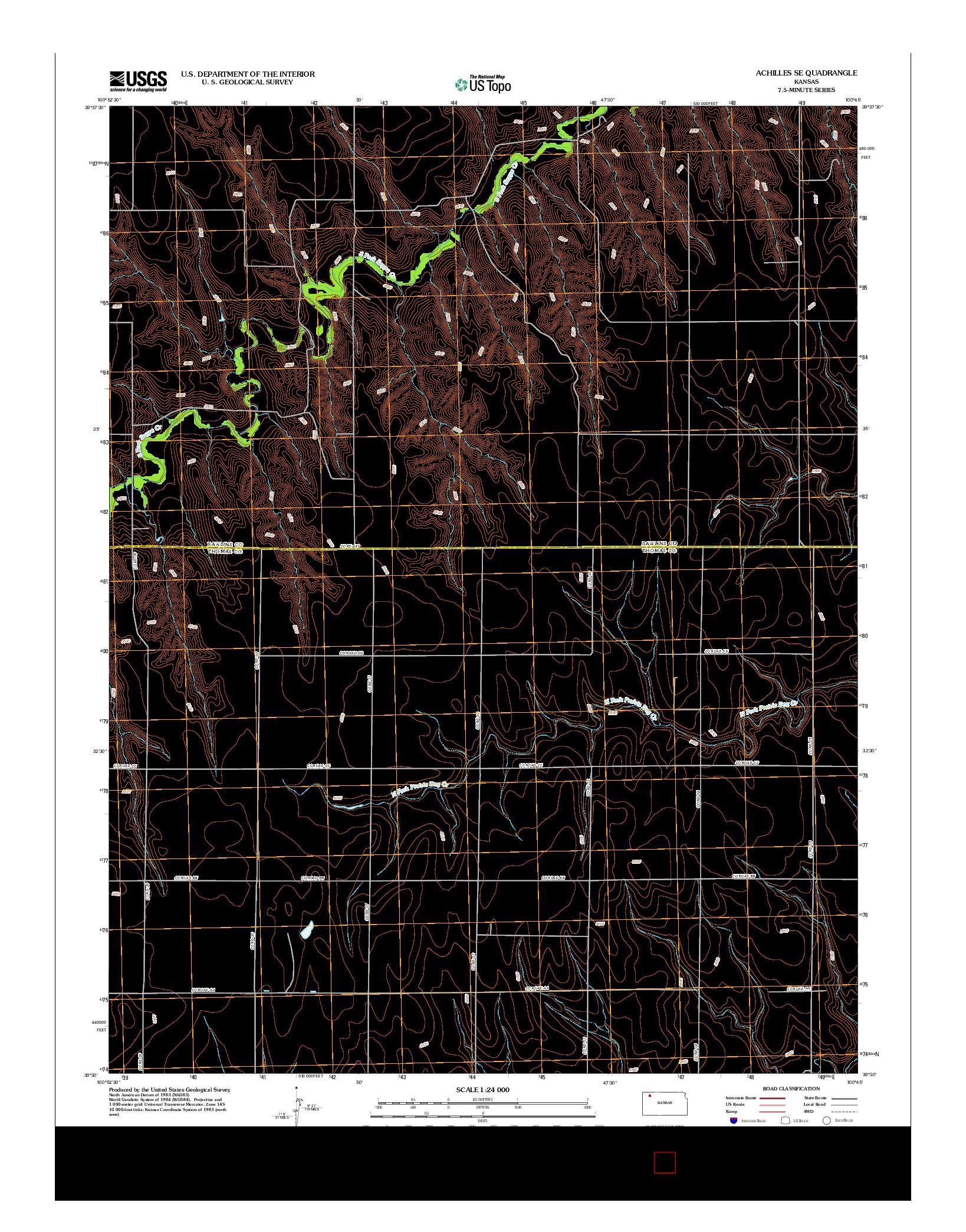 USGS US TOPO 7.5-MINUTE MAP FOR ACHILLES SE, KS 2012