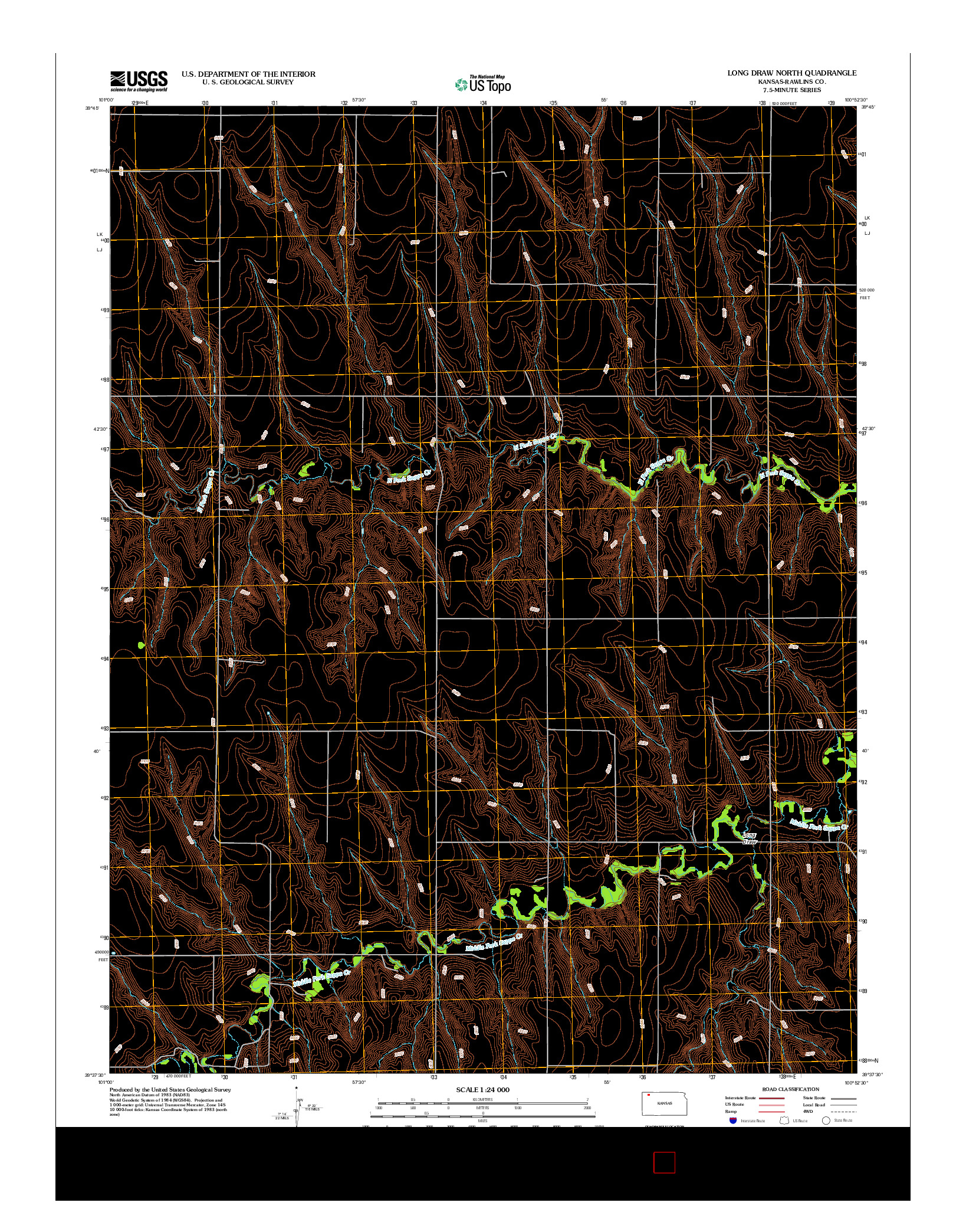 USGS US TOPO 7.5-MINUTE MAP FOR LONG DRAW NORTH, KS 2012