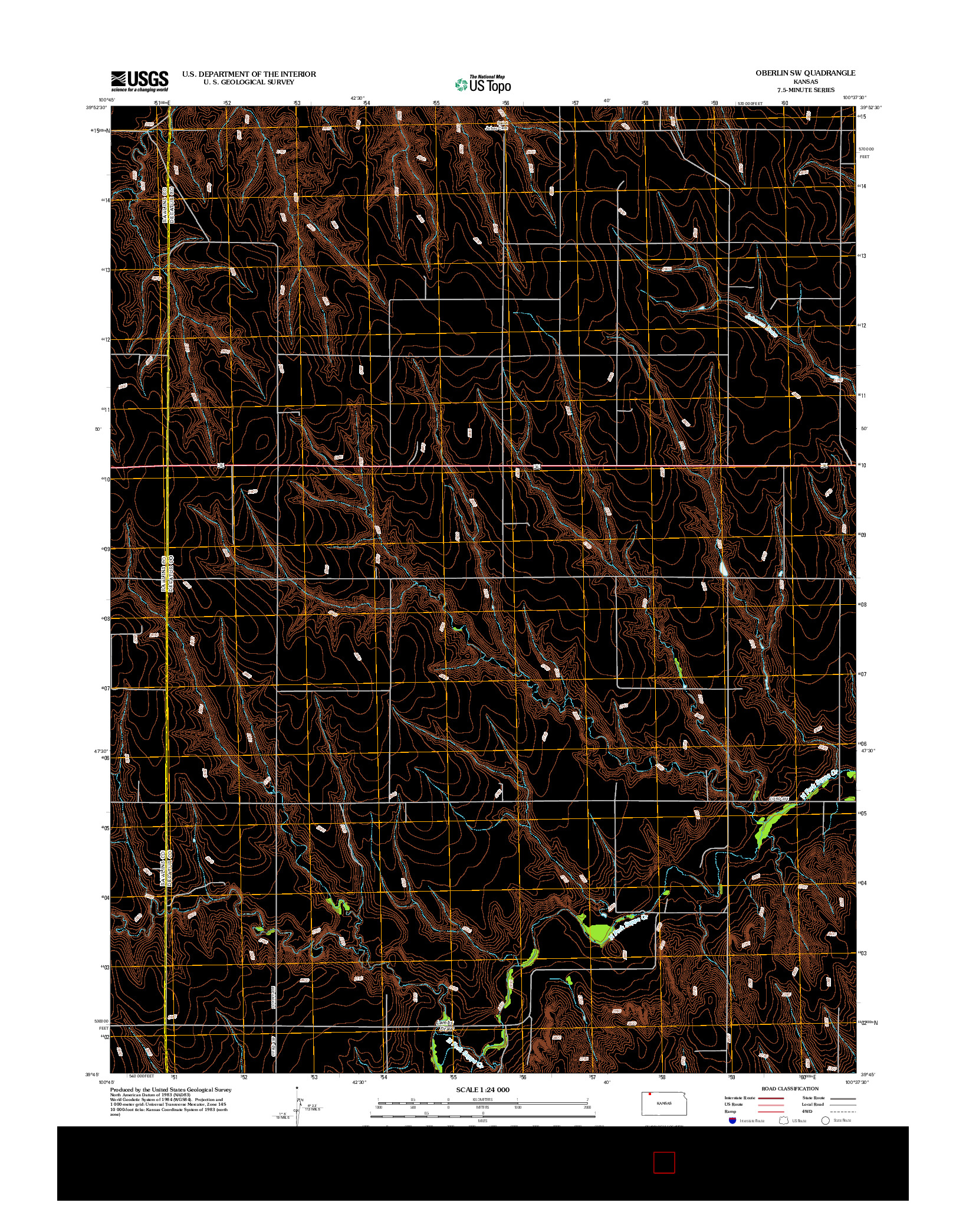 USGS US TOPO 7.5-MINUTE MAP FOR OBERLIN SW, KS 2012