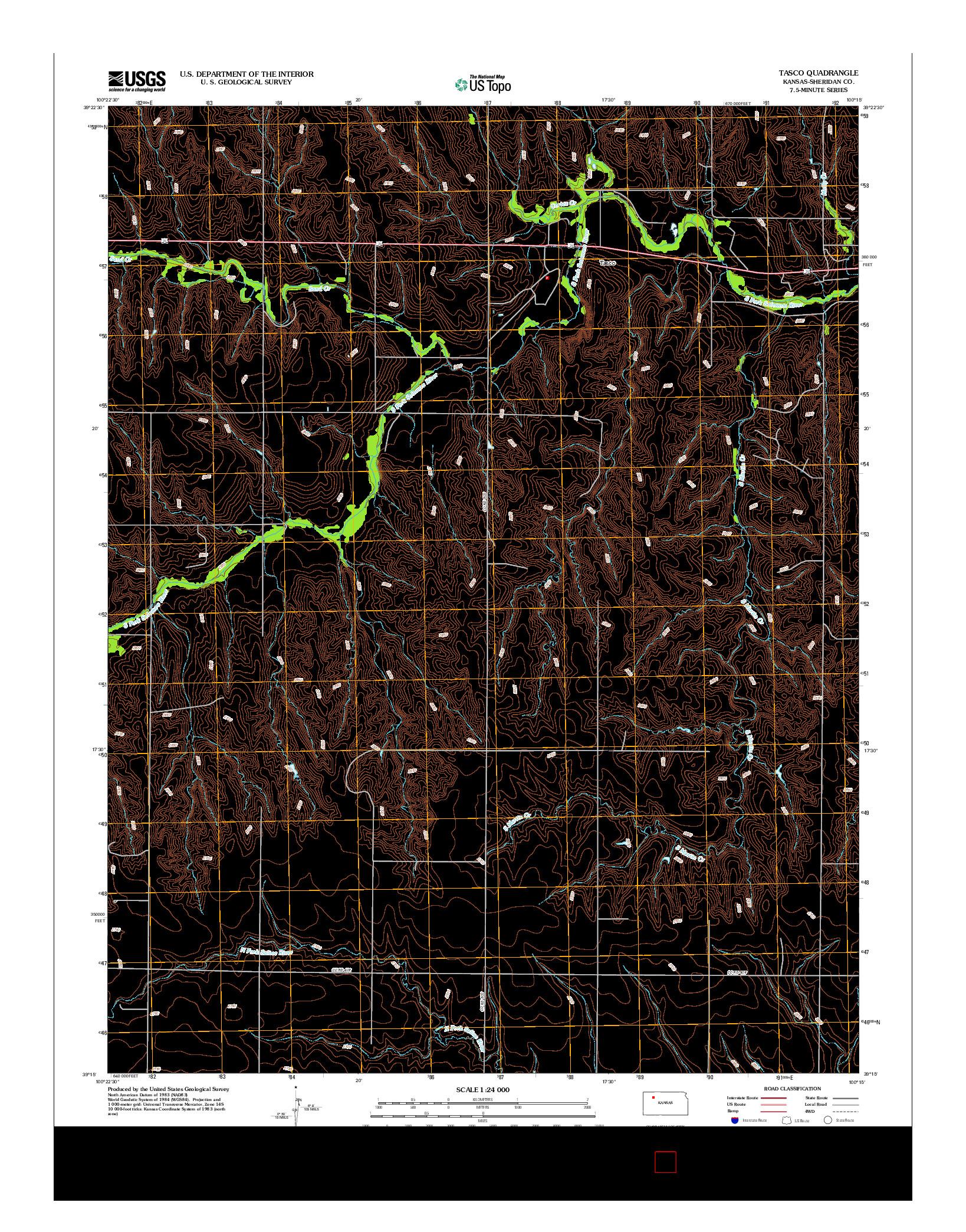 USGS US TOPO 7.5-MINUTE MAP FOR TASCO, KS 2012