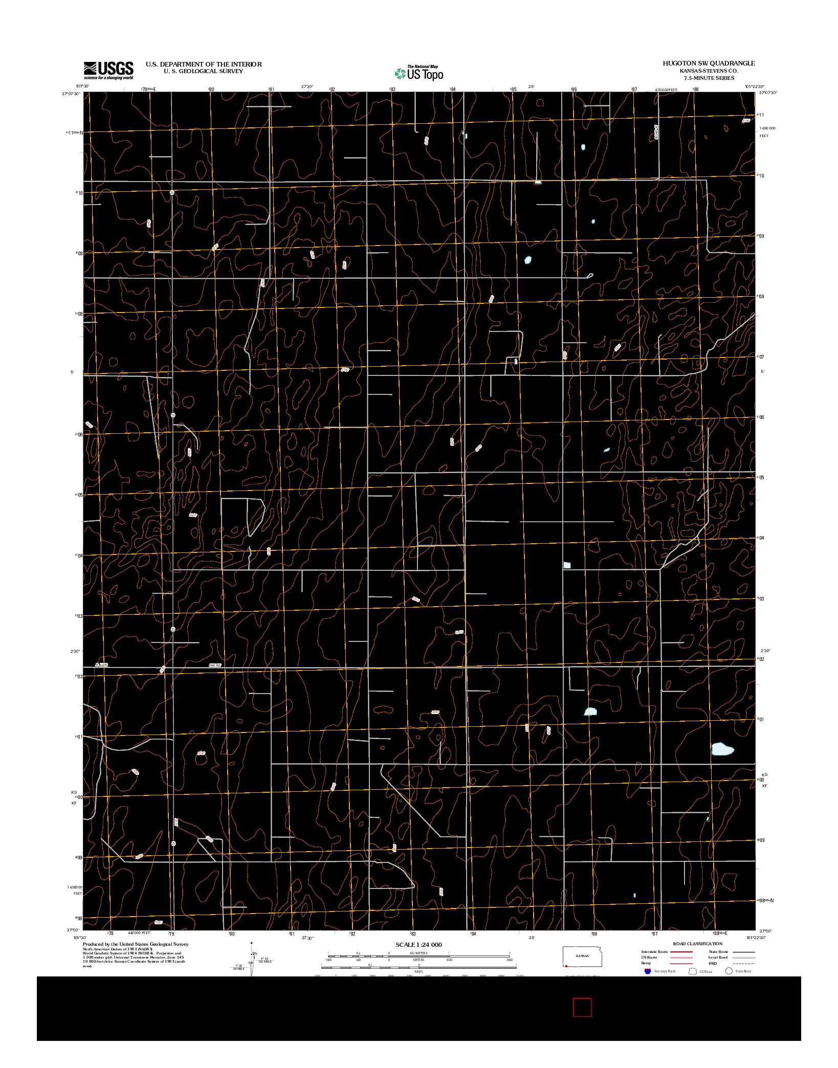 USGS US TOPO 7.5-MINUTE MAP FOR HUGOTON SW, KS 2012