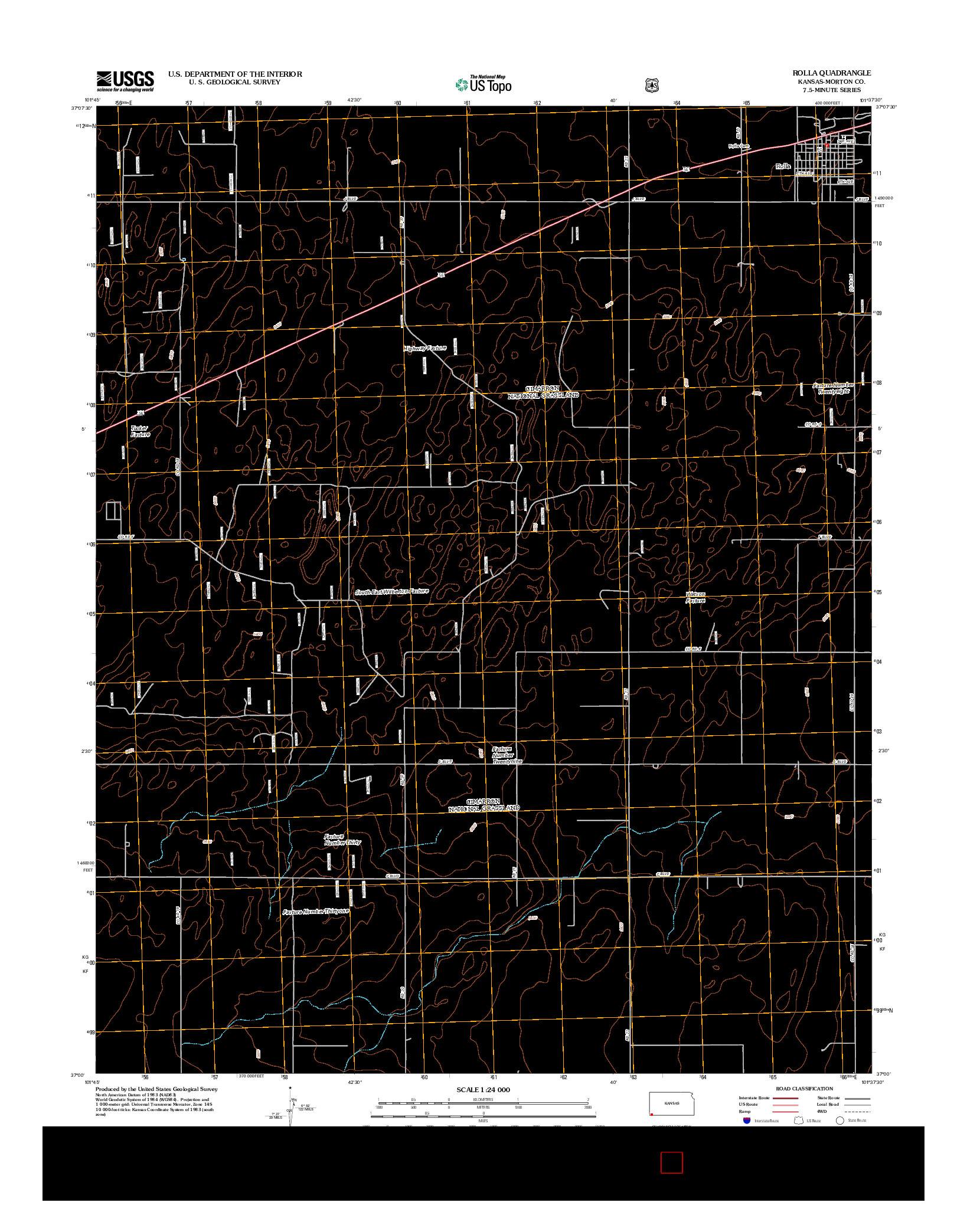 USGS US TOPO 7.5-MINUTE MAP FOR ROLLA, KS 2012