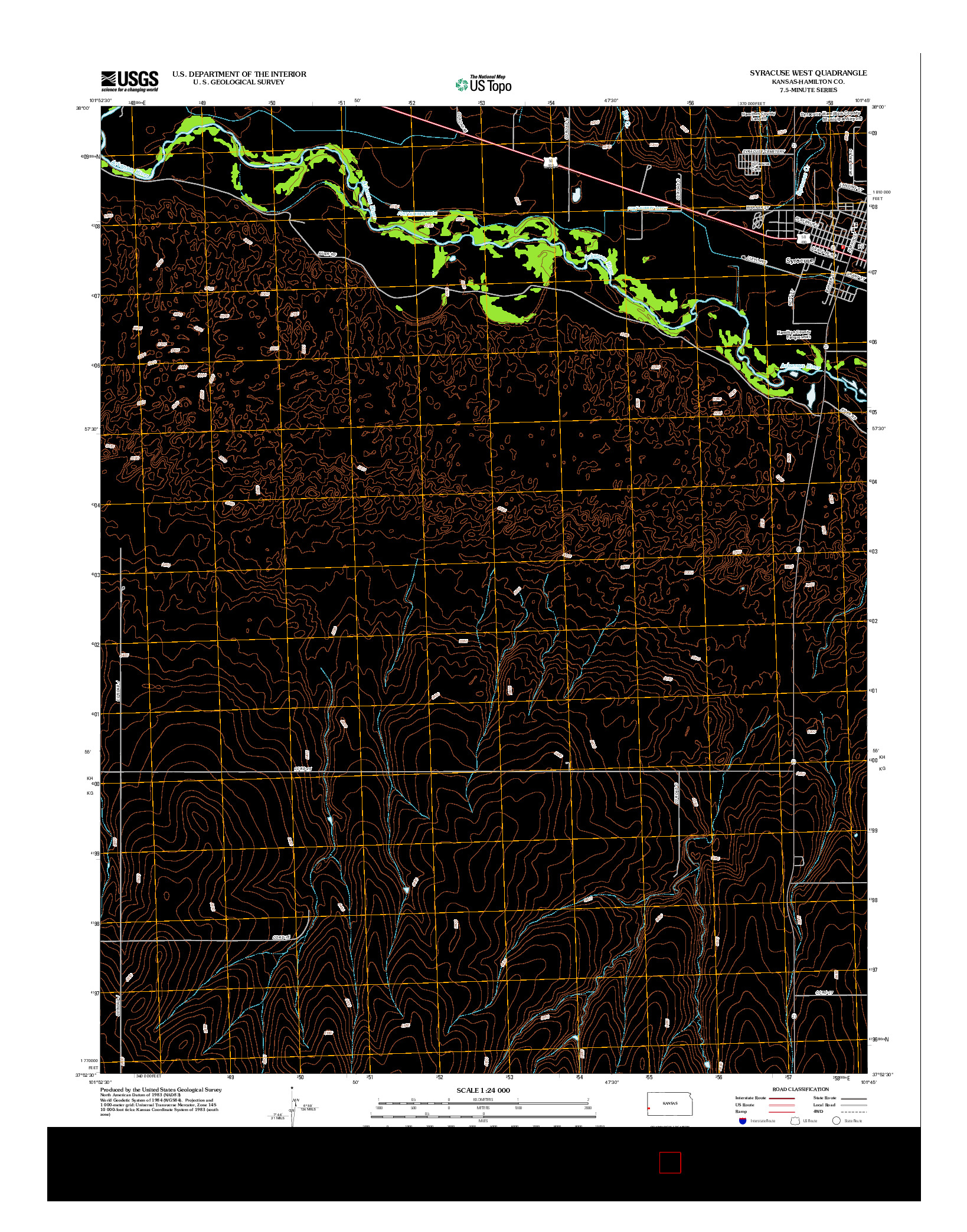 USGS US TOPO 7.5-MINUTE MAP FOR SYRACUSE WEST, KS 2012