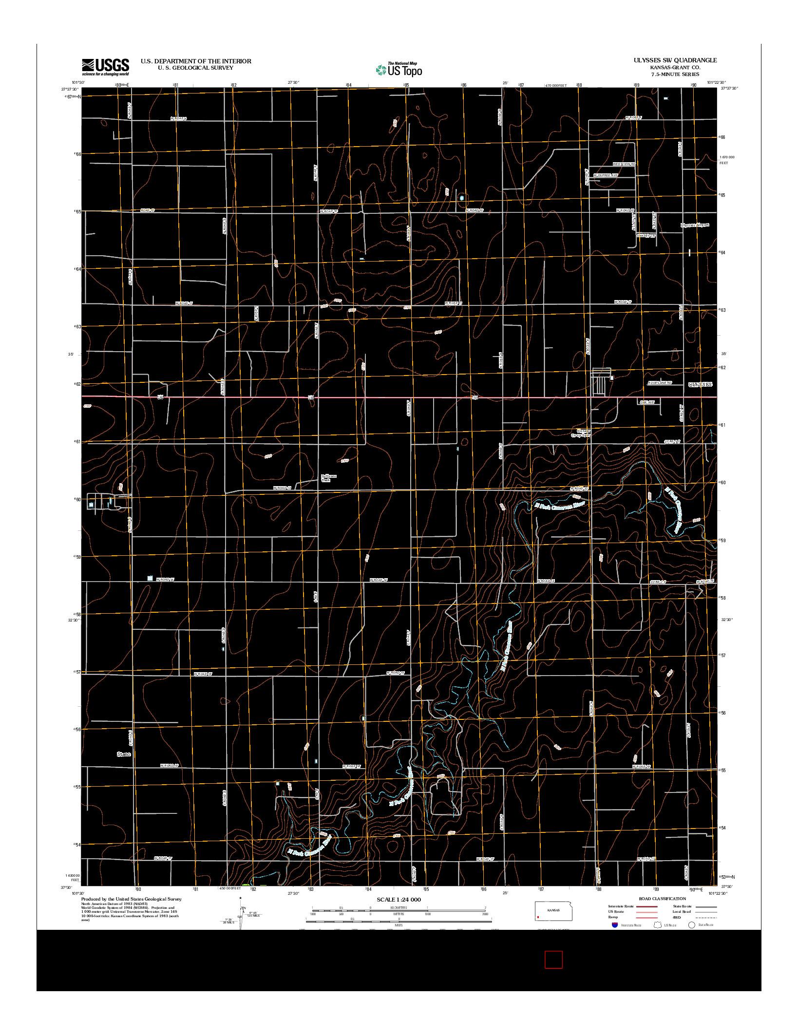 USGS US TOPO 7.5-MINUTE MAP FOR ULYSSES SW, KS 2012
