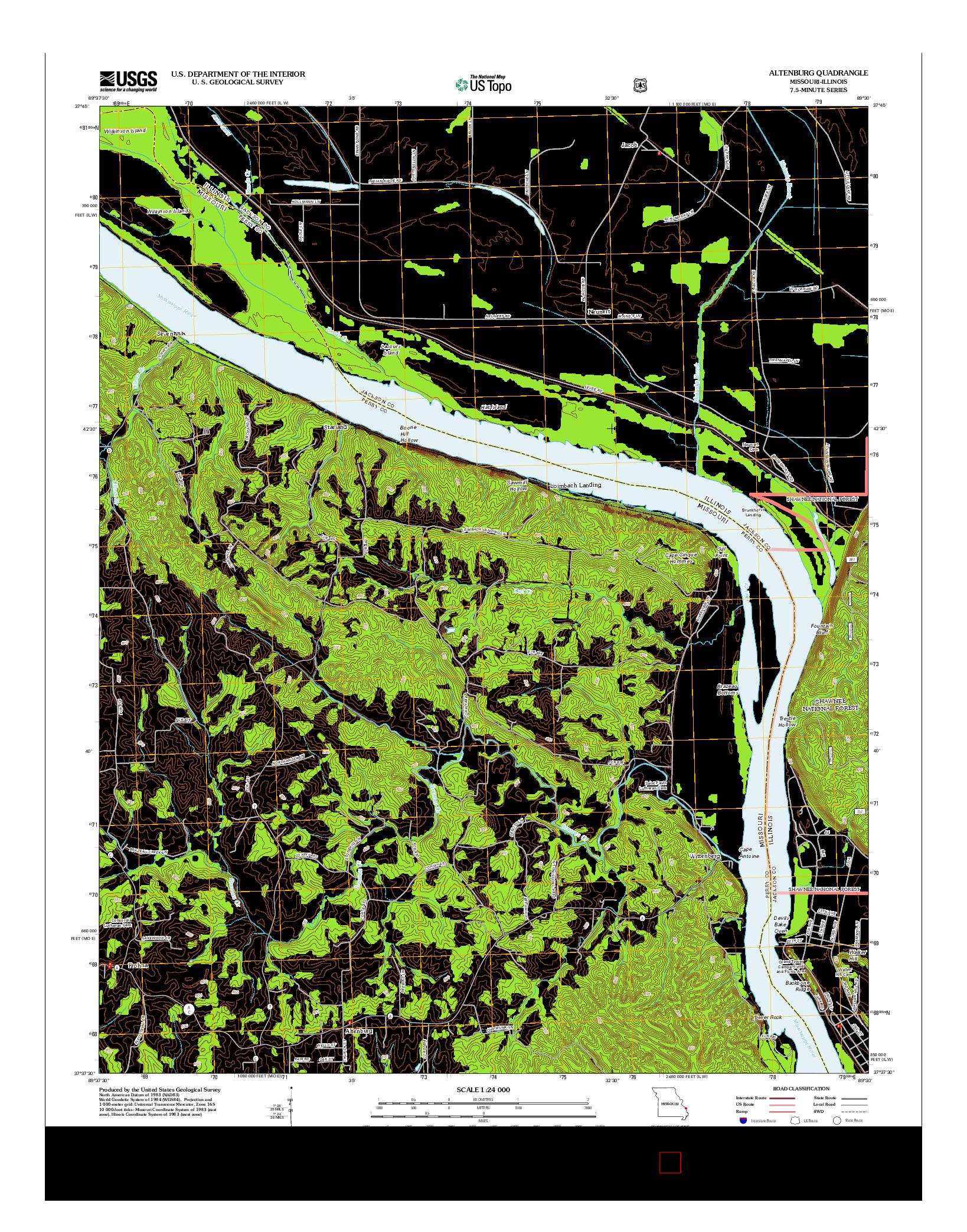 USGS US TOPO 7.5-MINUTE MAP FOR ALTENBURG, MO-IL 2012