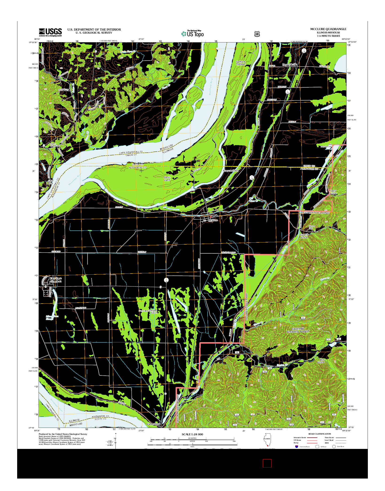 USGS US TOPO 7.5-MINUTE MAP FOR MCCLURE, IL-MO 2012