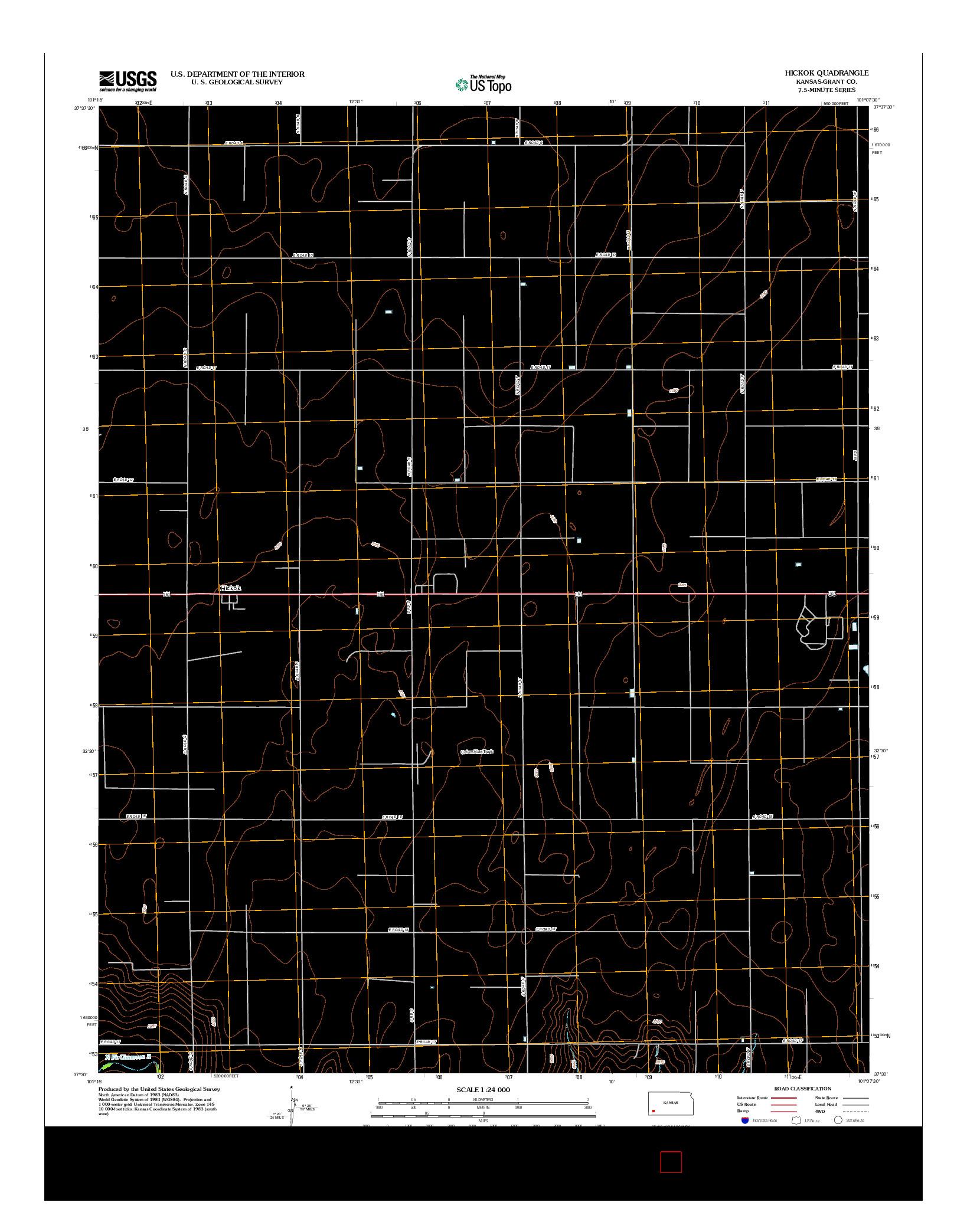 USGS US TOPO 7.5-MINUTE MAP FOR HICKOK, KS 2012