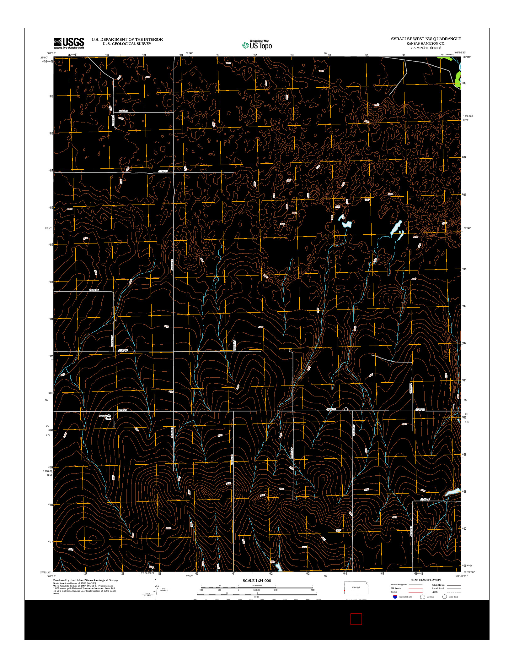 USGS US TOPO 7.5-MINUTE MAP FOR SYRACUSE WEST NW, KS 2012