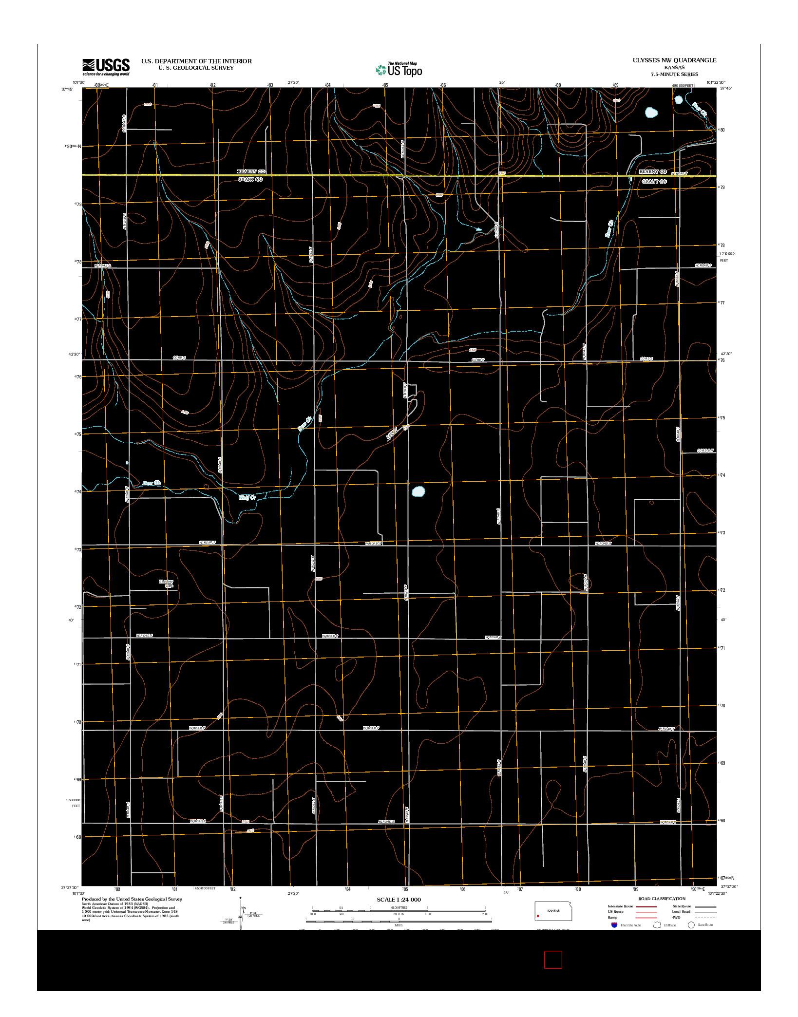 USGS US TOPO 7.5-MINUTE MAP FOR ULYSSES NW, KS 2012