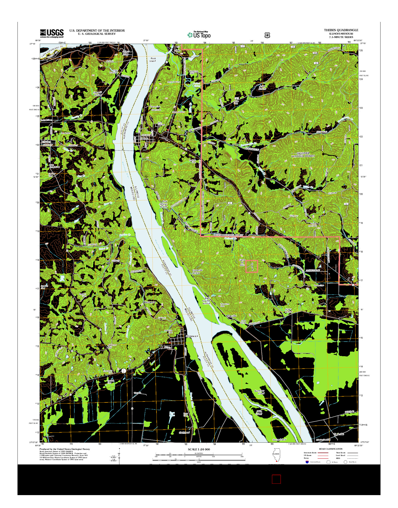 USGS US TOPO 7.5-MINUTE MAP FOR THEBES, IL-MO 2012