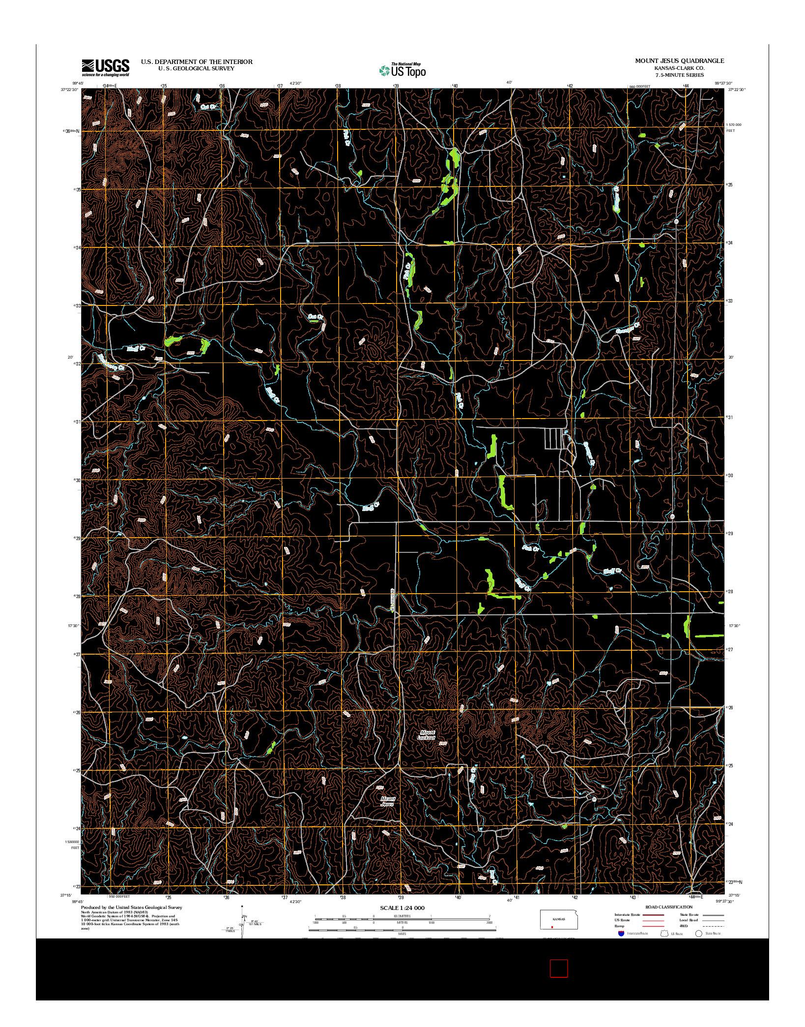 USGS US TOPO 7.5-MINUTE MAP FOR MOUNT JESUS, KS 2012