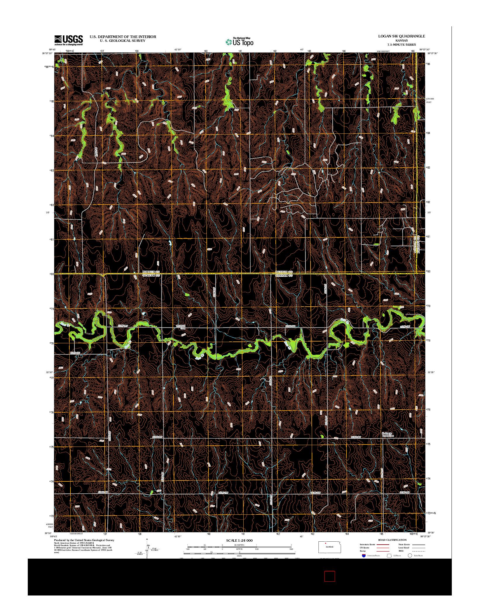 USGS US TOPO 7.5-MINUTE MAP FOR LOGAN SW, KS 2012