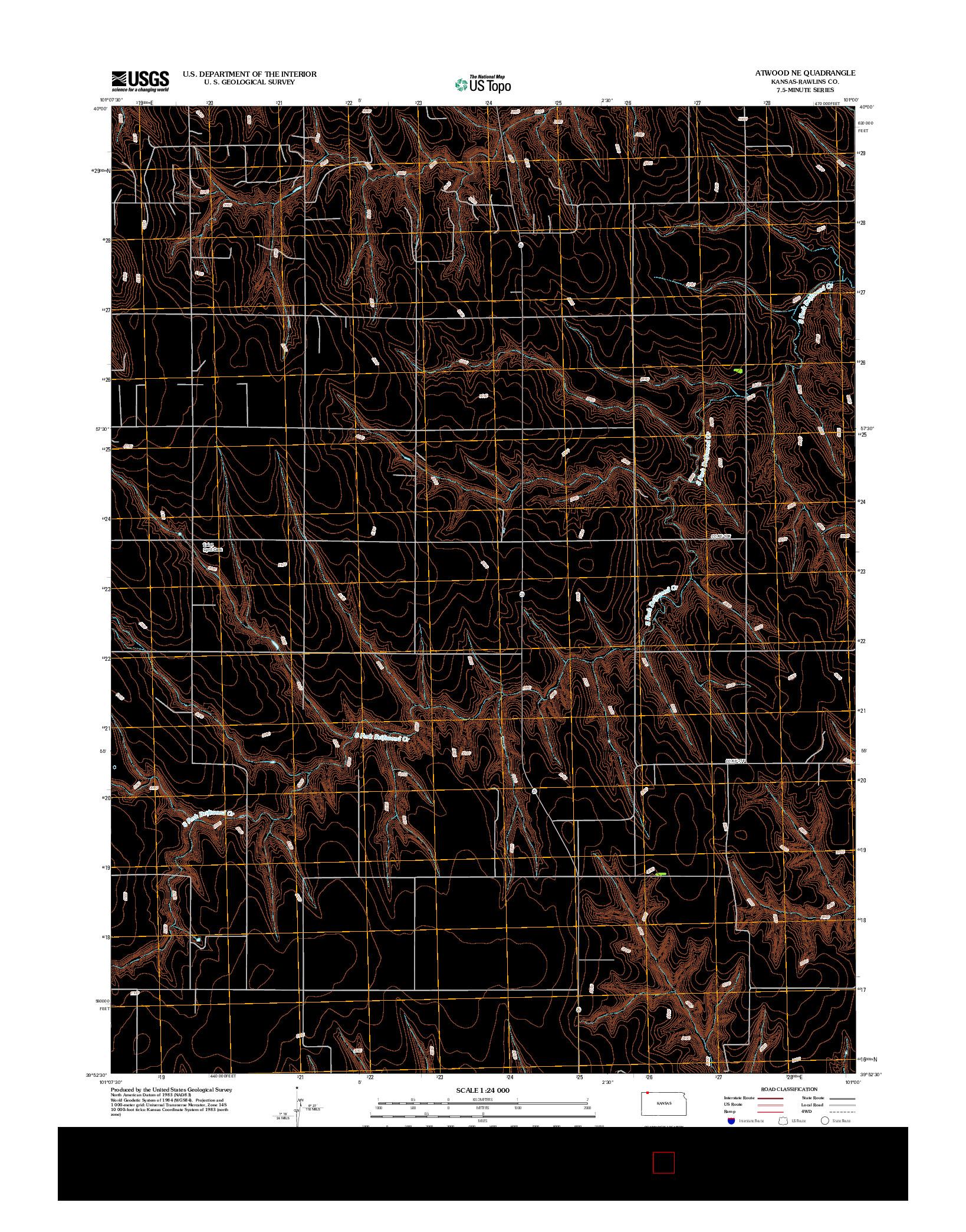 USGS US TOPO 7.5-MINUTE MAP FOR ATWOOD NE, KS 2012