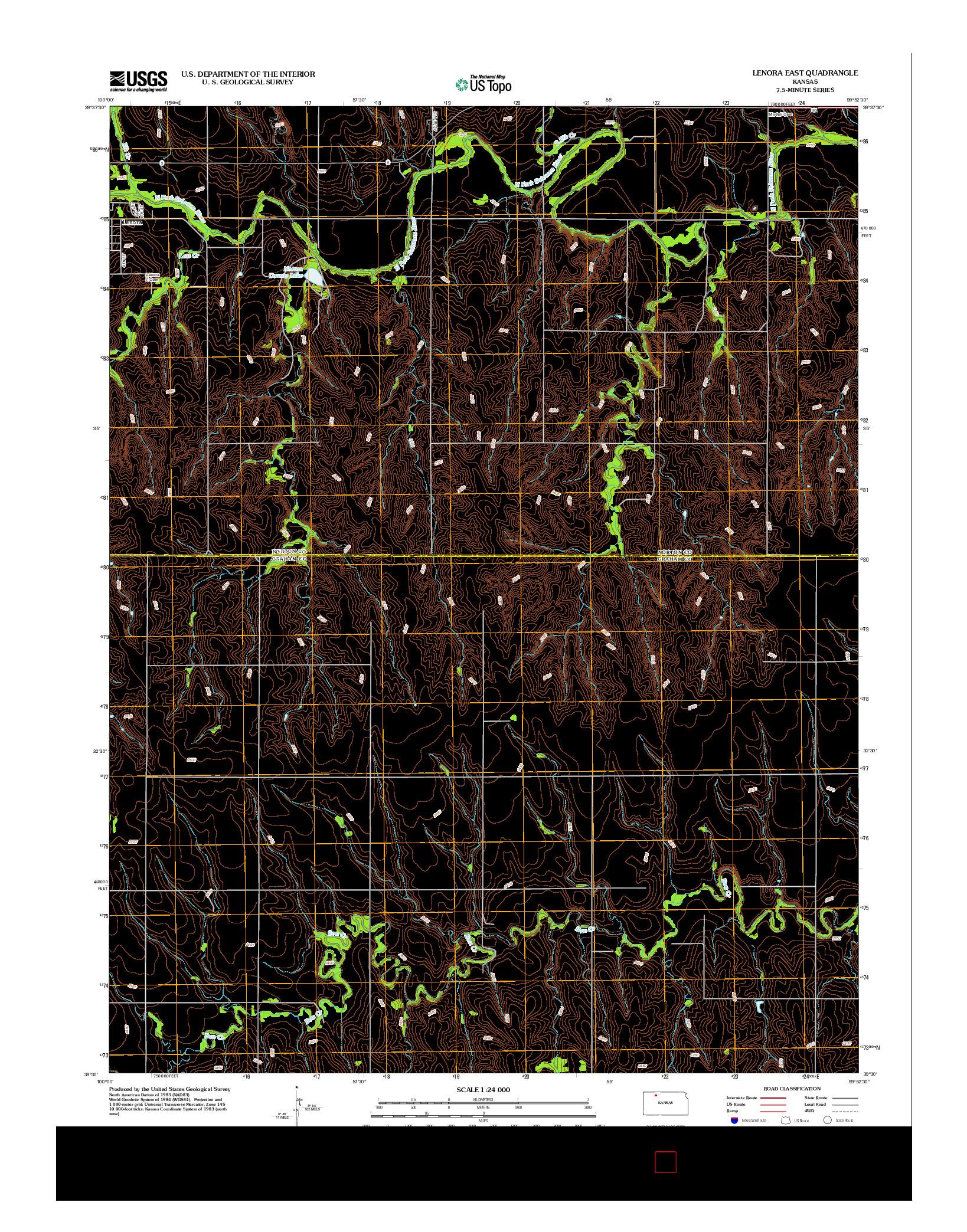 USGS US TOPO 7.5-MINUTE MAP FOR LENORA EAST, KS 2012