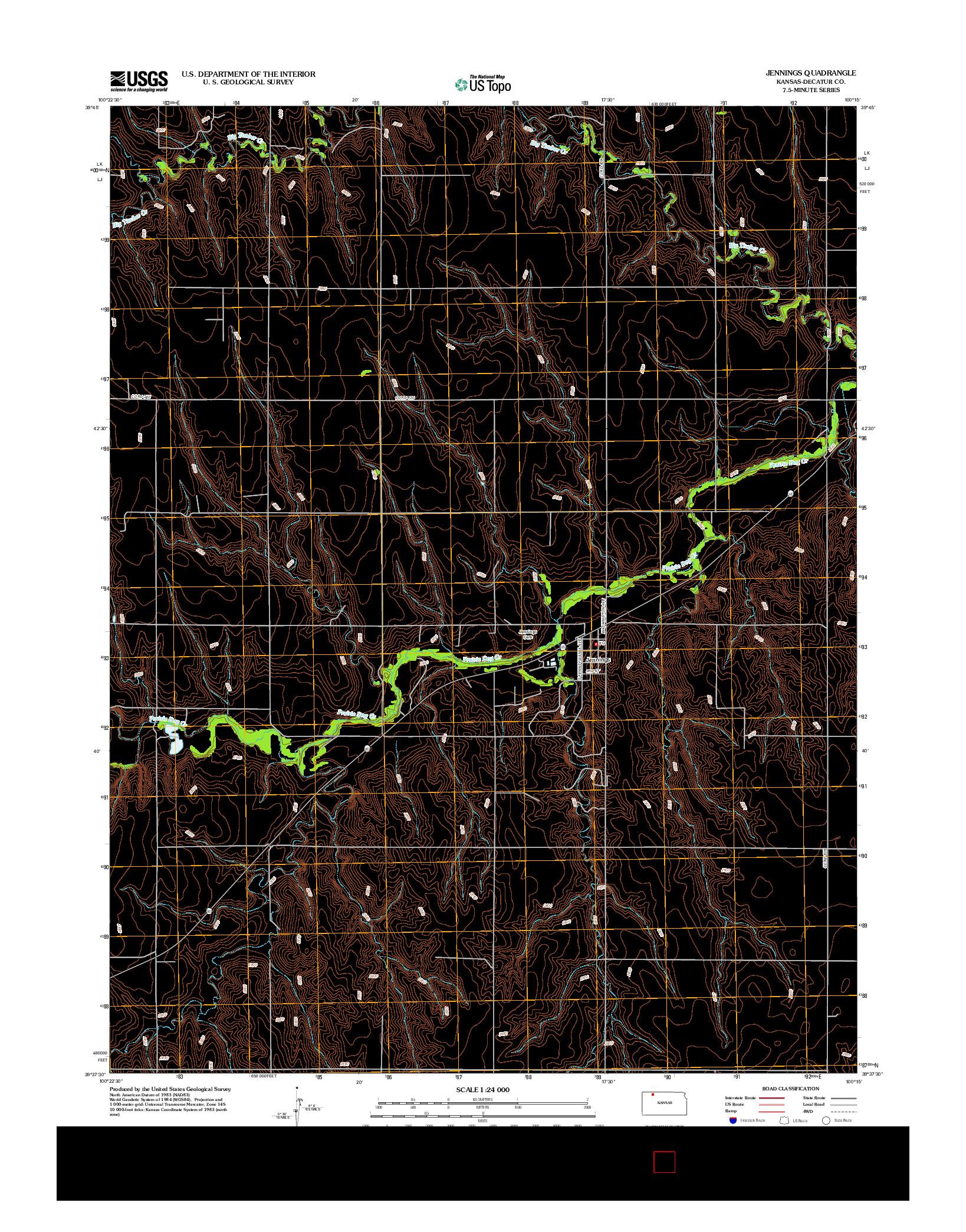 USGS US TOPO 7.5-MINUTE MAP FOR JENNINGS, KS 2012