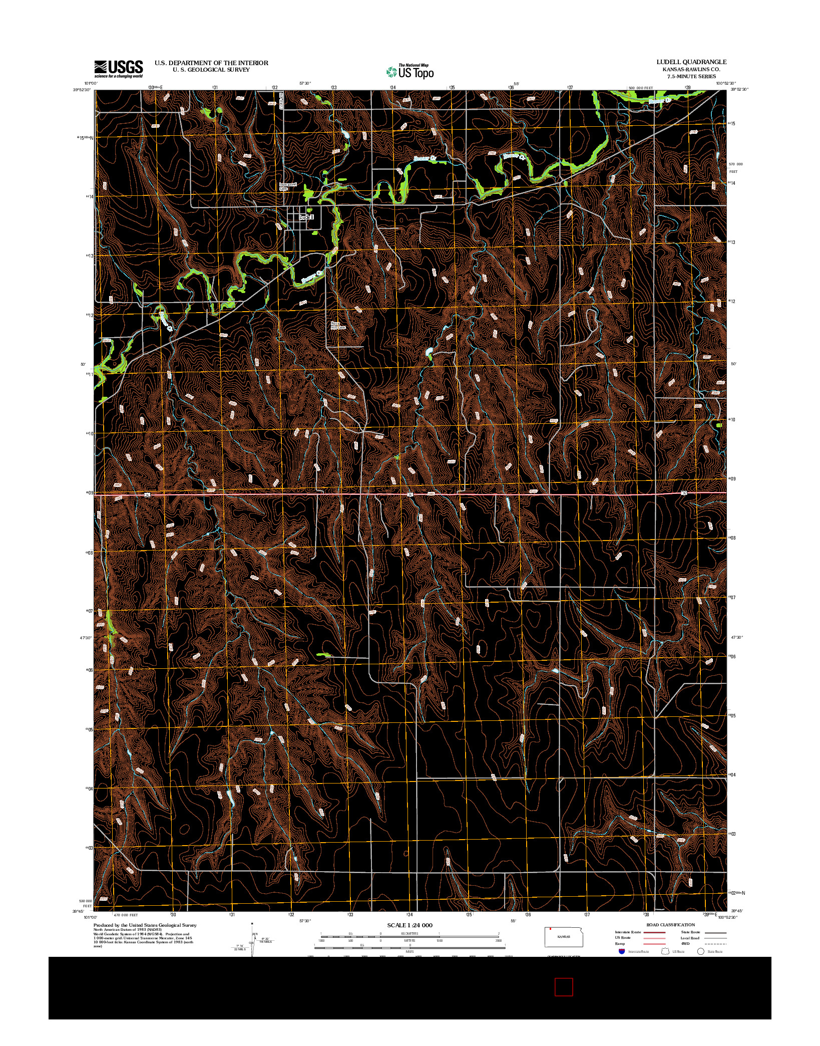 USGS US TOPO 7.5-MINUTE MAP FOR LUDELL, KS 2012
