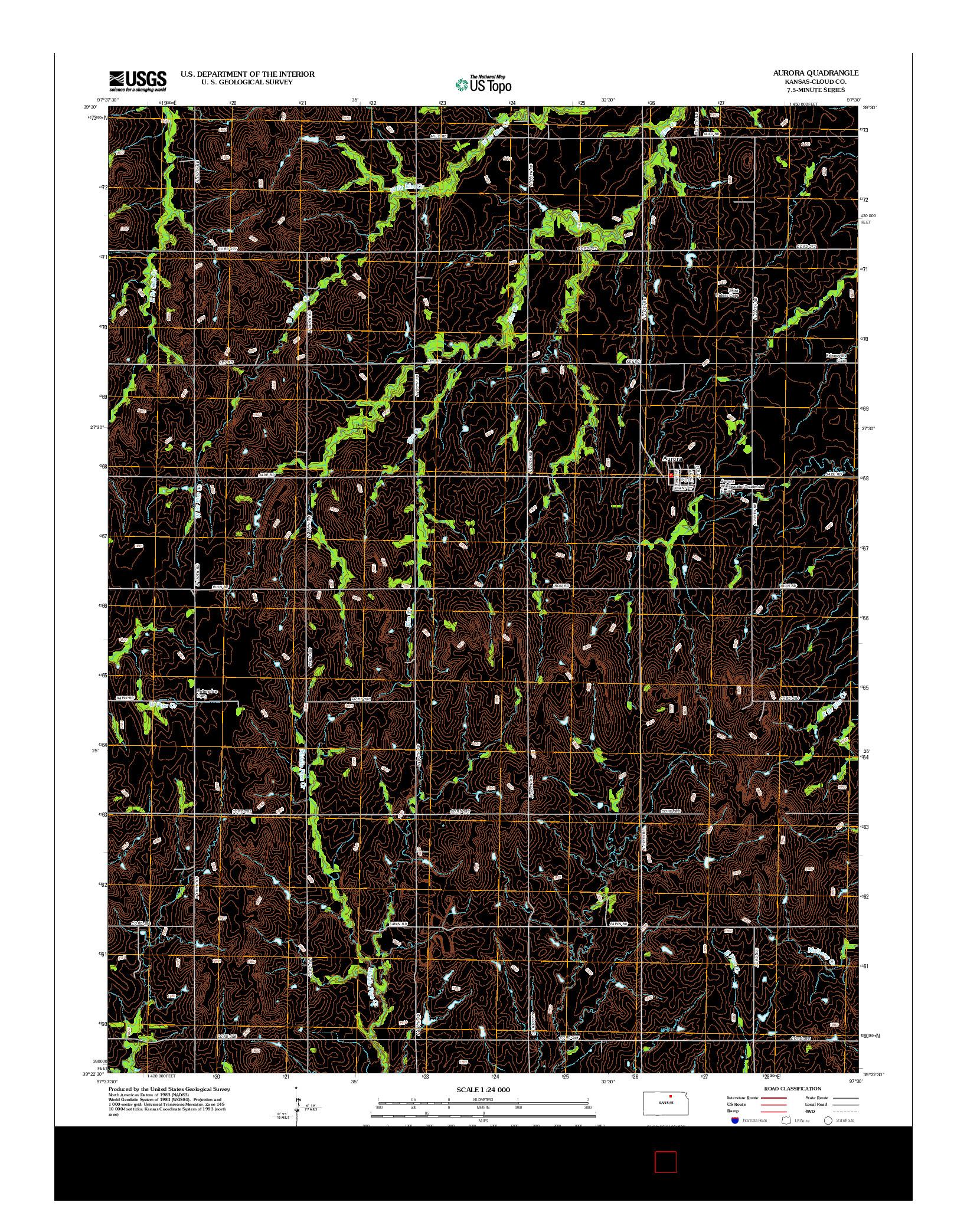 USGS US TOPO 7.5-MINUTE MAP FOR AURORA, KS 2012