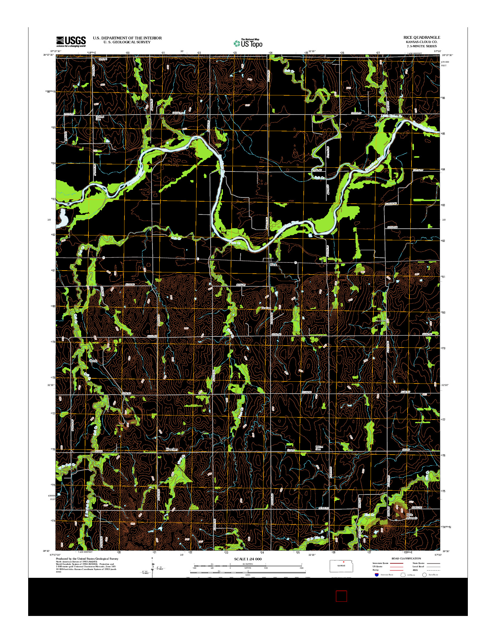 USGS US TOPO 7.5-MINUTE MAP FOR RICE, KS 2012
