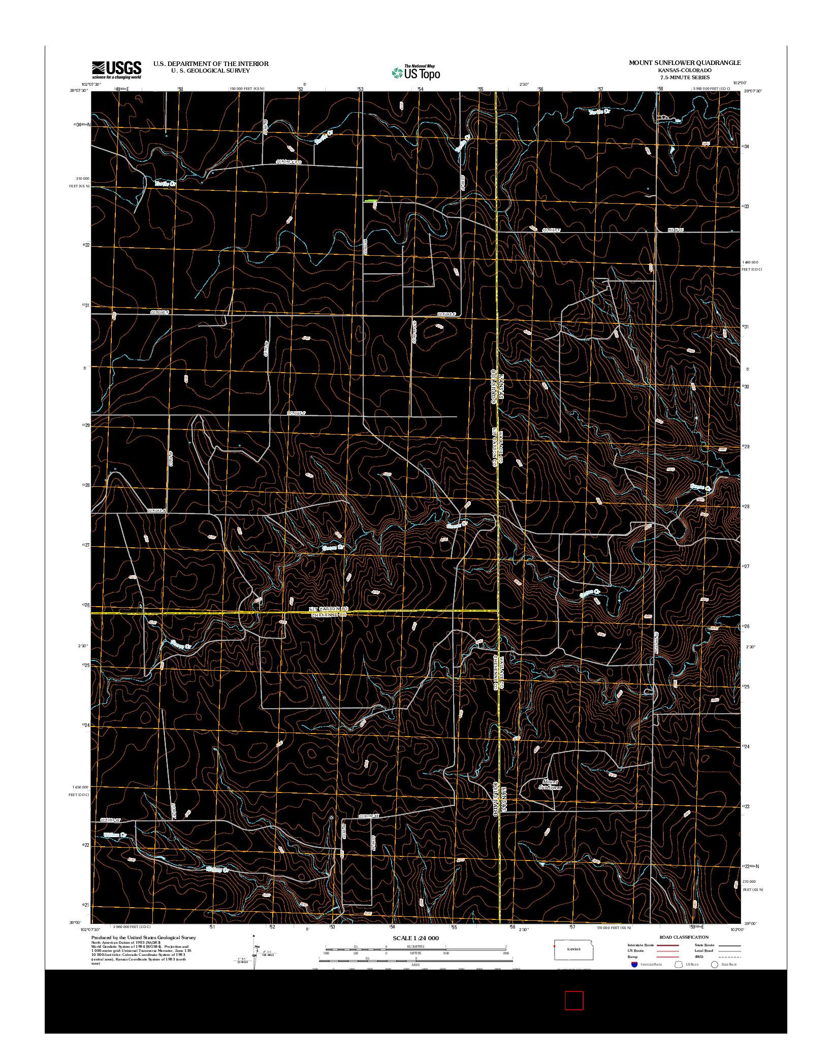 USGS US TOPO 7.5-MINUTE MAP FOR MOUNT SUNFLOWER, KS-CO 2012