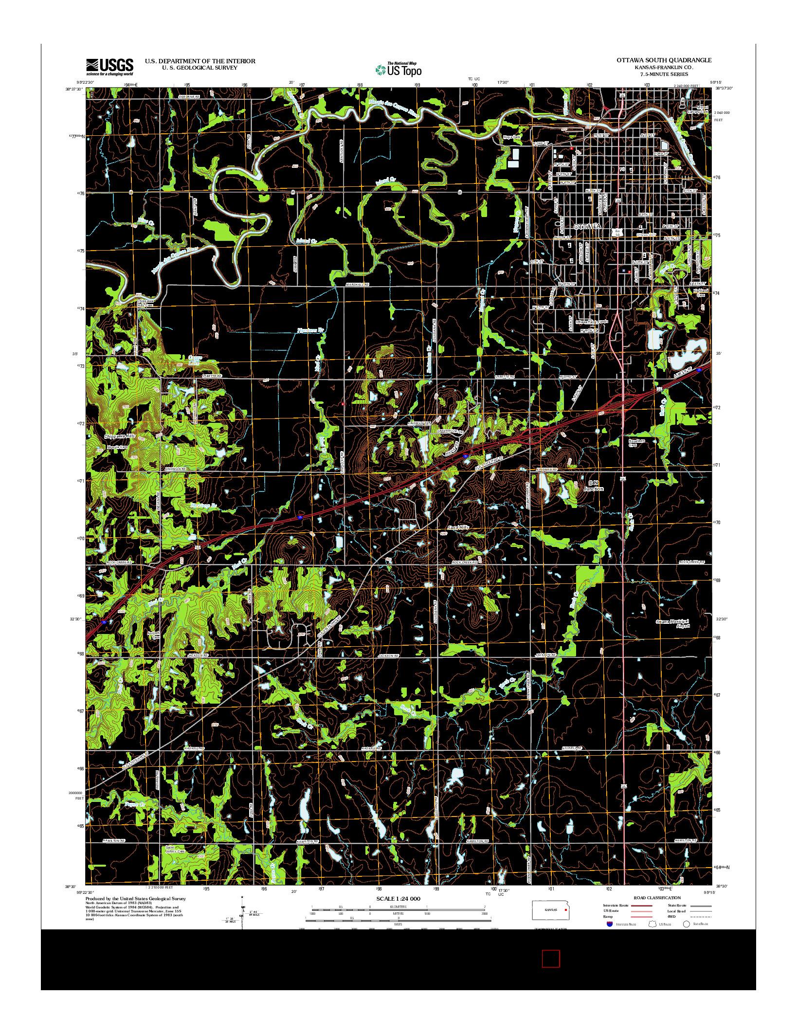USGS US TOPO 7.5-MINUTE MAP FOR OTTAWA SOUTH, KS 2012