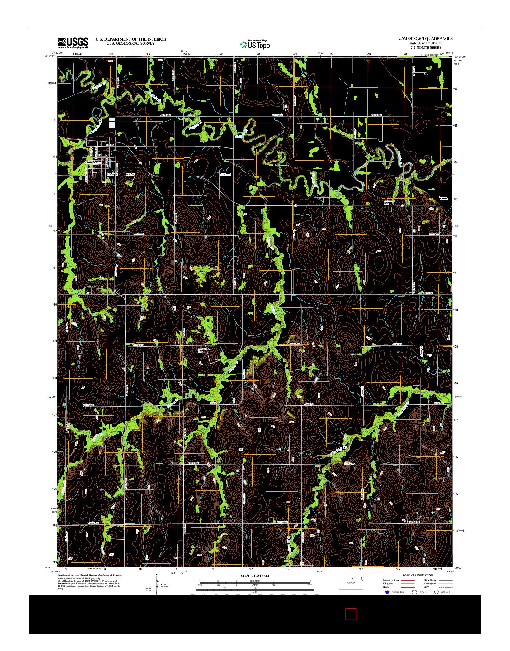 USGS US TOPO 7.5-MINUTE MAP FOR JAMESTOWN, KS 2012