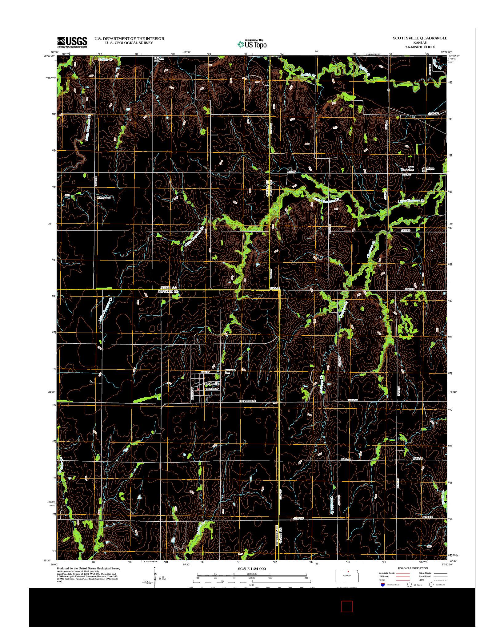 USGS US TOPO 7.5-MINUTE MAP FOR SCOTTSVILLE, KS 2012