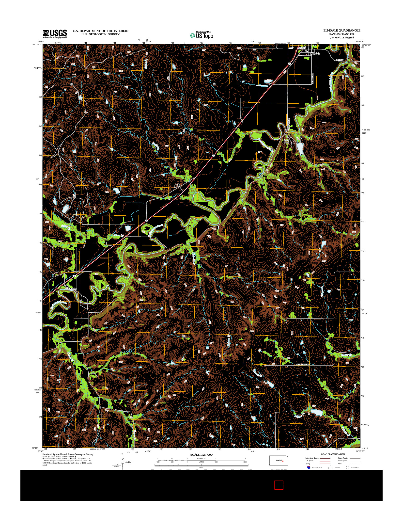 USGS US TOPO 7.5-MINUTE MAP FOR ELMDALE, KS 2012
