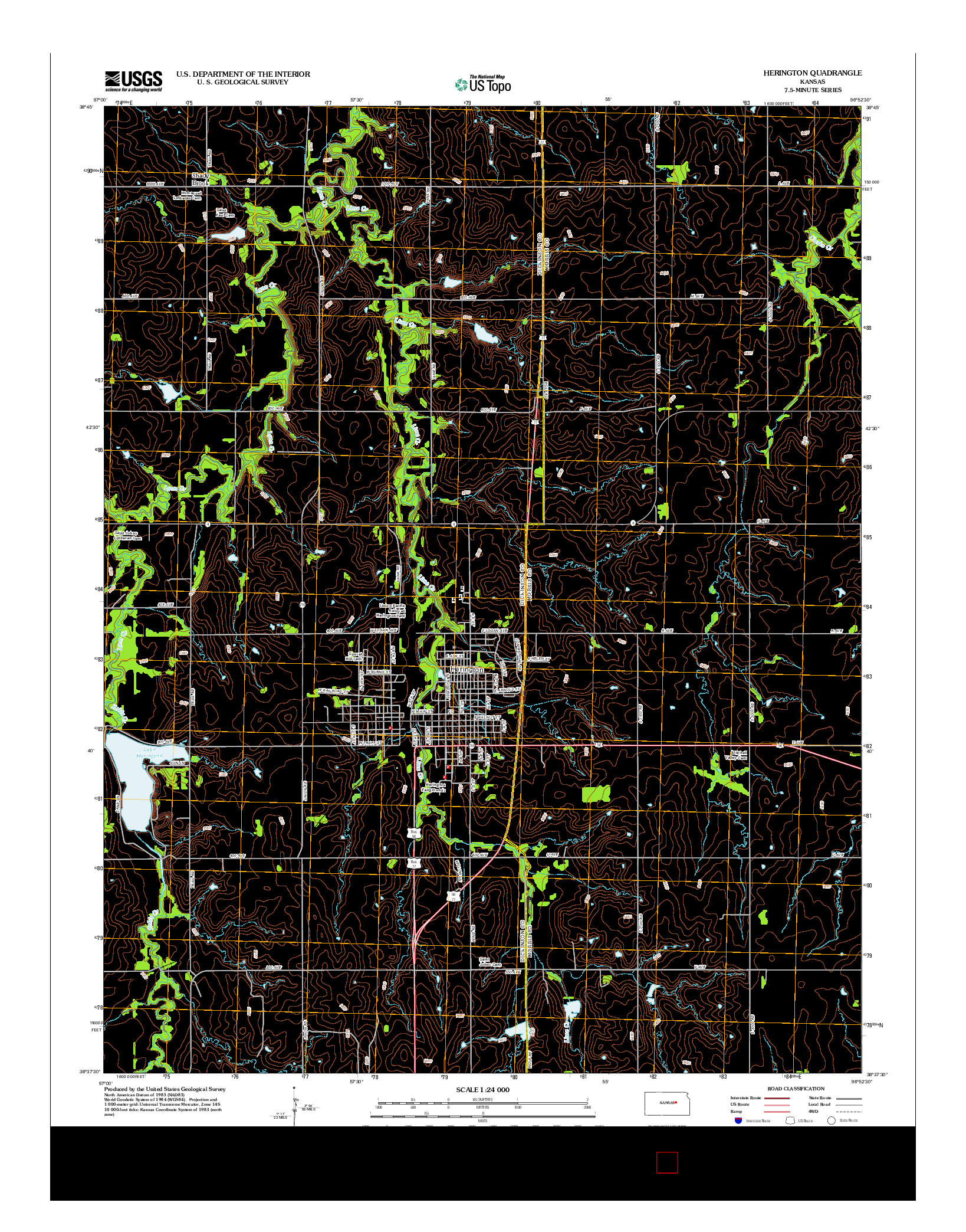 USGS US TOPO 7.5-MINUTE MAP FOR HERINGTON, KS 2012