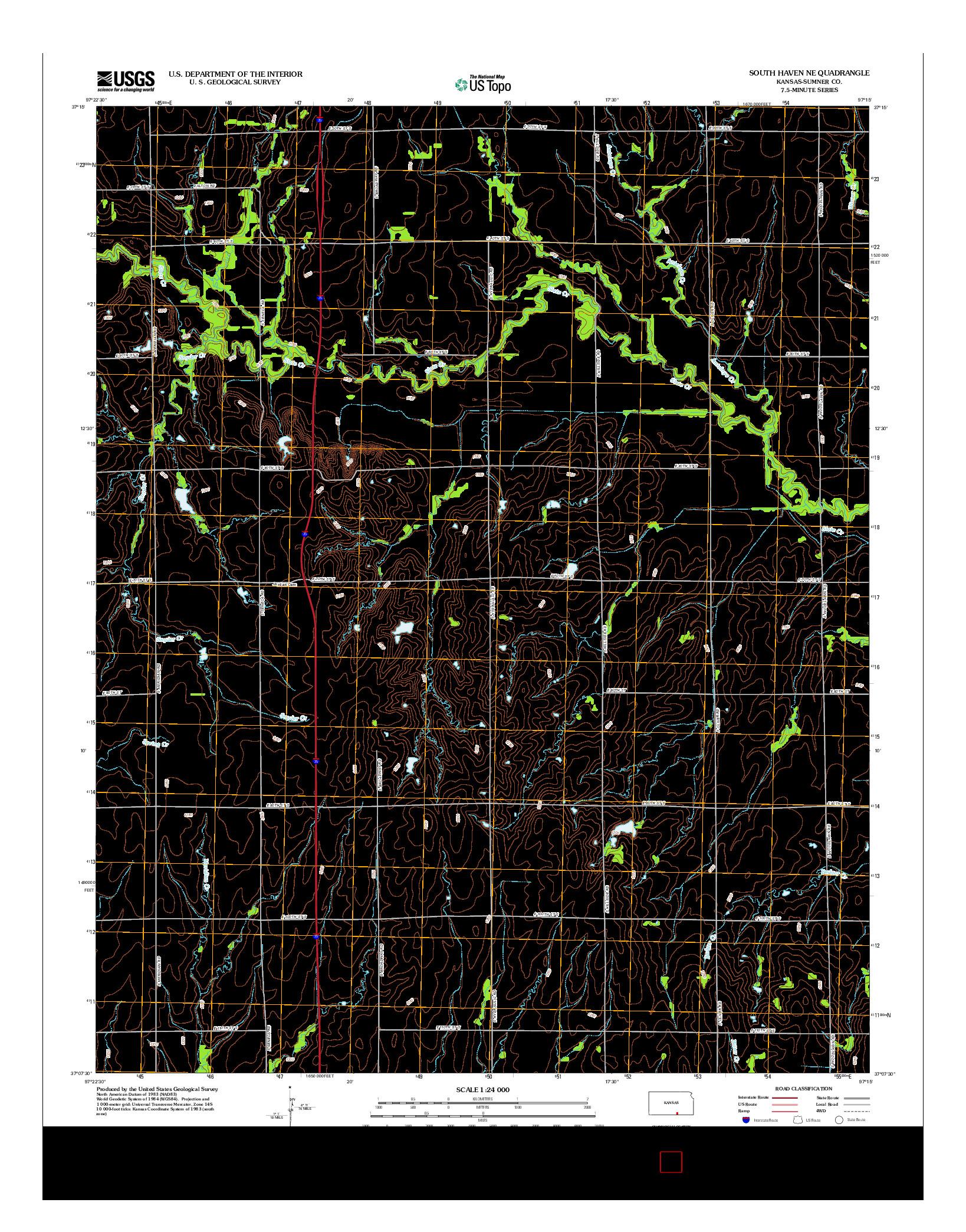 USGS US TOPO 7.5-MINUTE MAP FOR SOUTH HAVEN NE, KS 2012