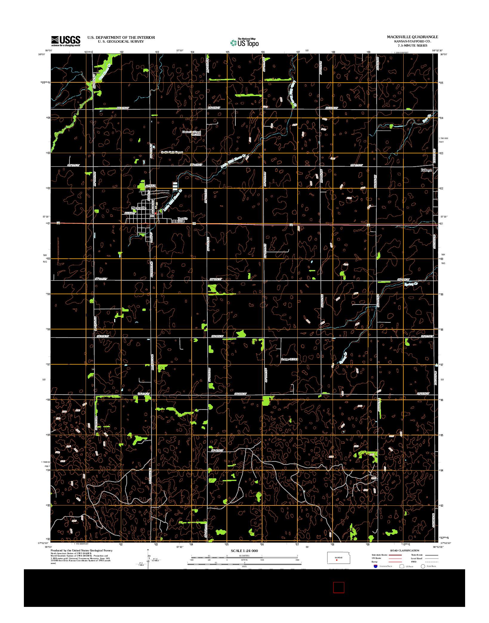 USGS US TOPO 7.5-MINUTE MAP FOR MACKSVILLE, KS 2012