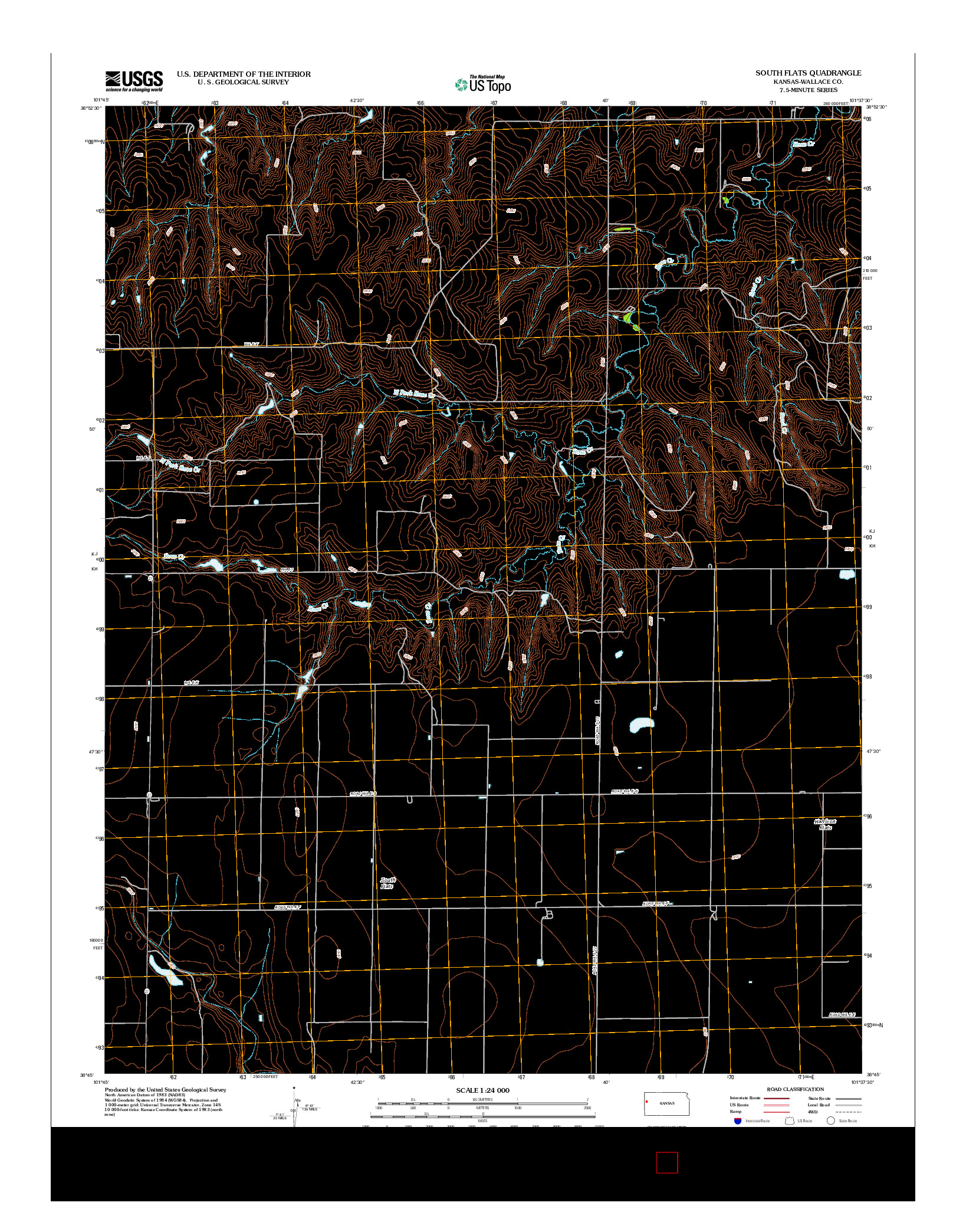 USGS US TOPO 7.5-MINUTE MAP FOR SOUTH FLATS, KS 2012