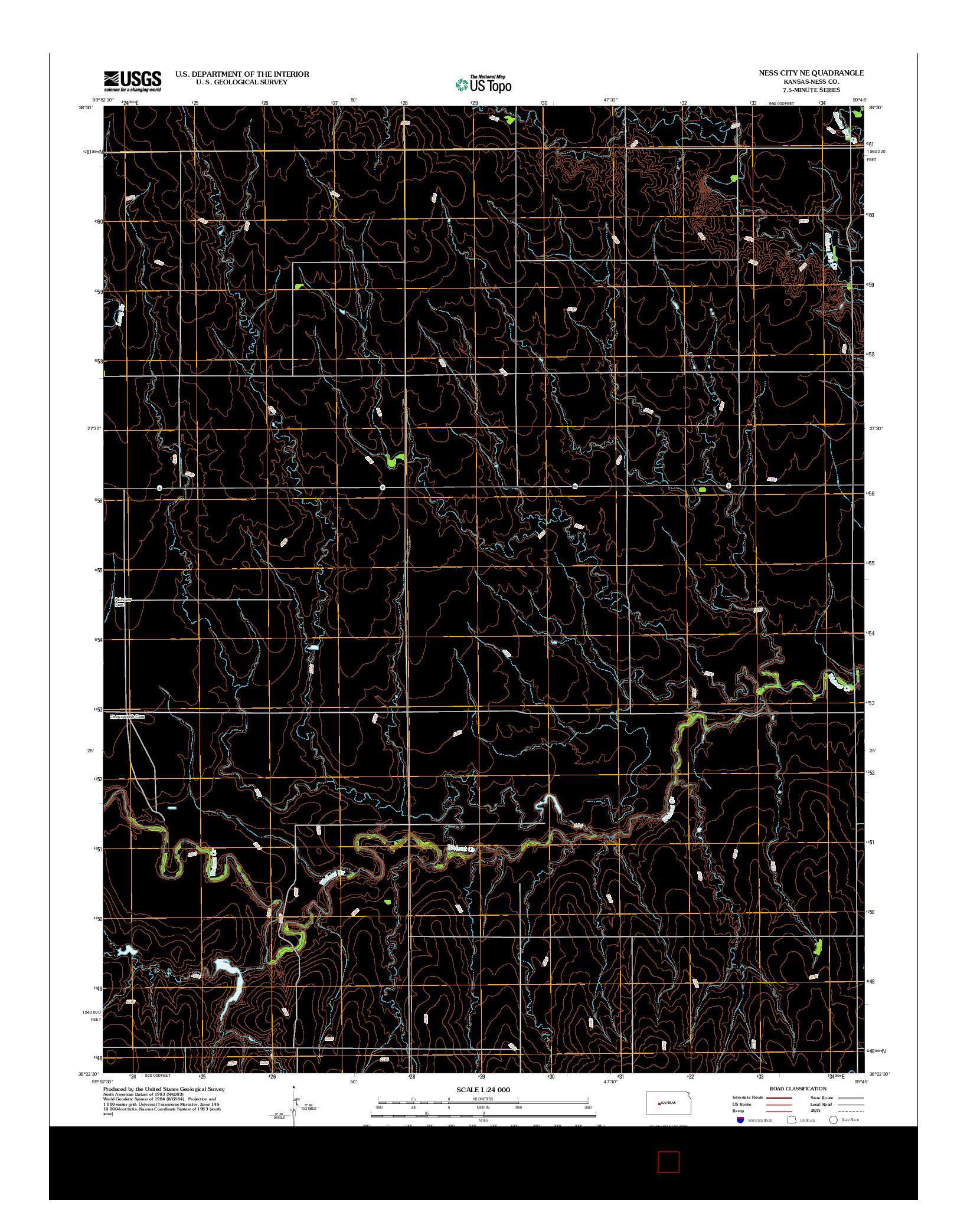 USGS US TOPO 7.5-MINUTE MAP FOR NESS CITY NE, KS 2012