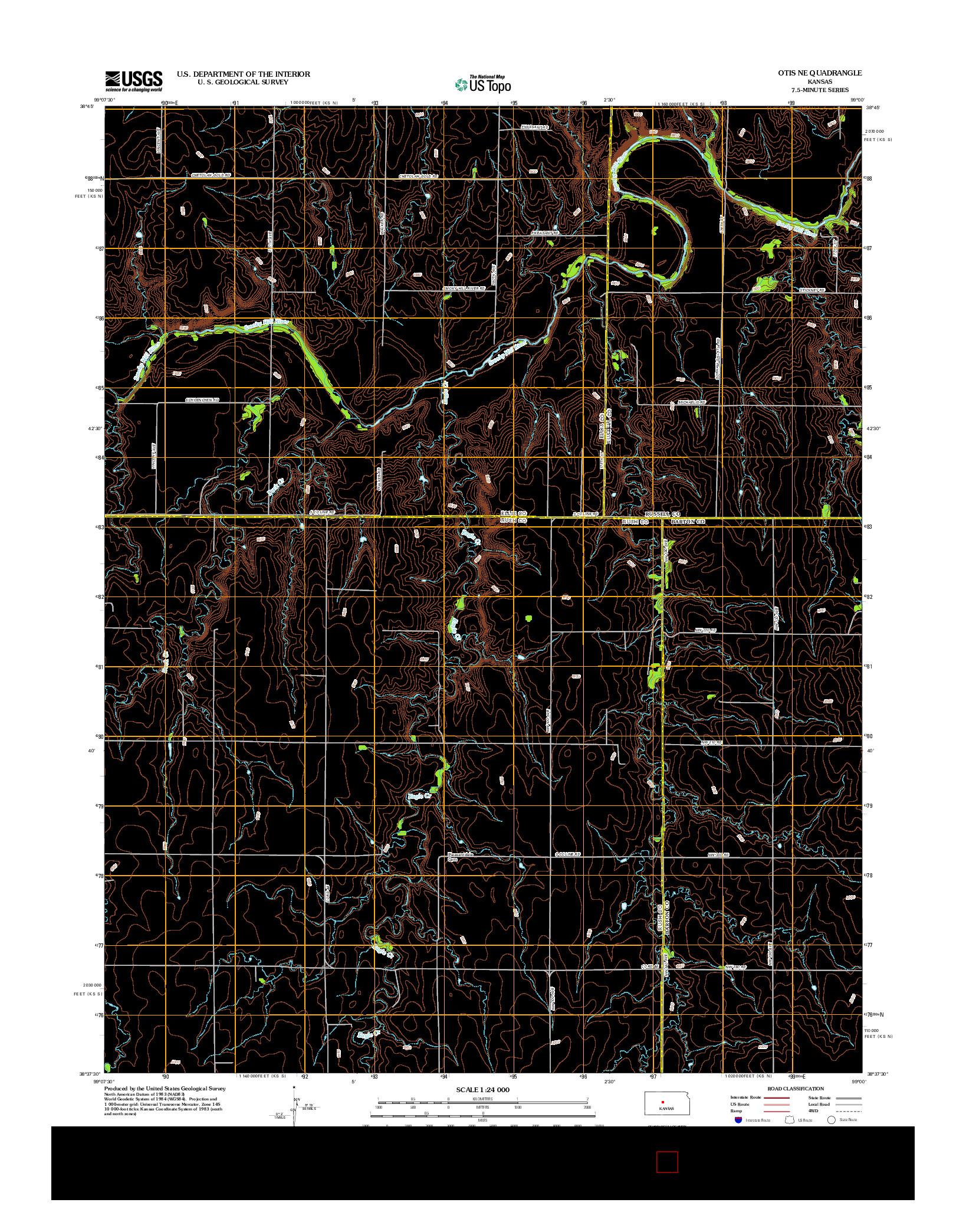 USGS US TOPO 7.5-MINUTE MAP FOR OTIS NE, KS 2012