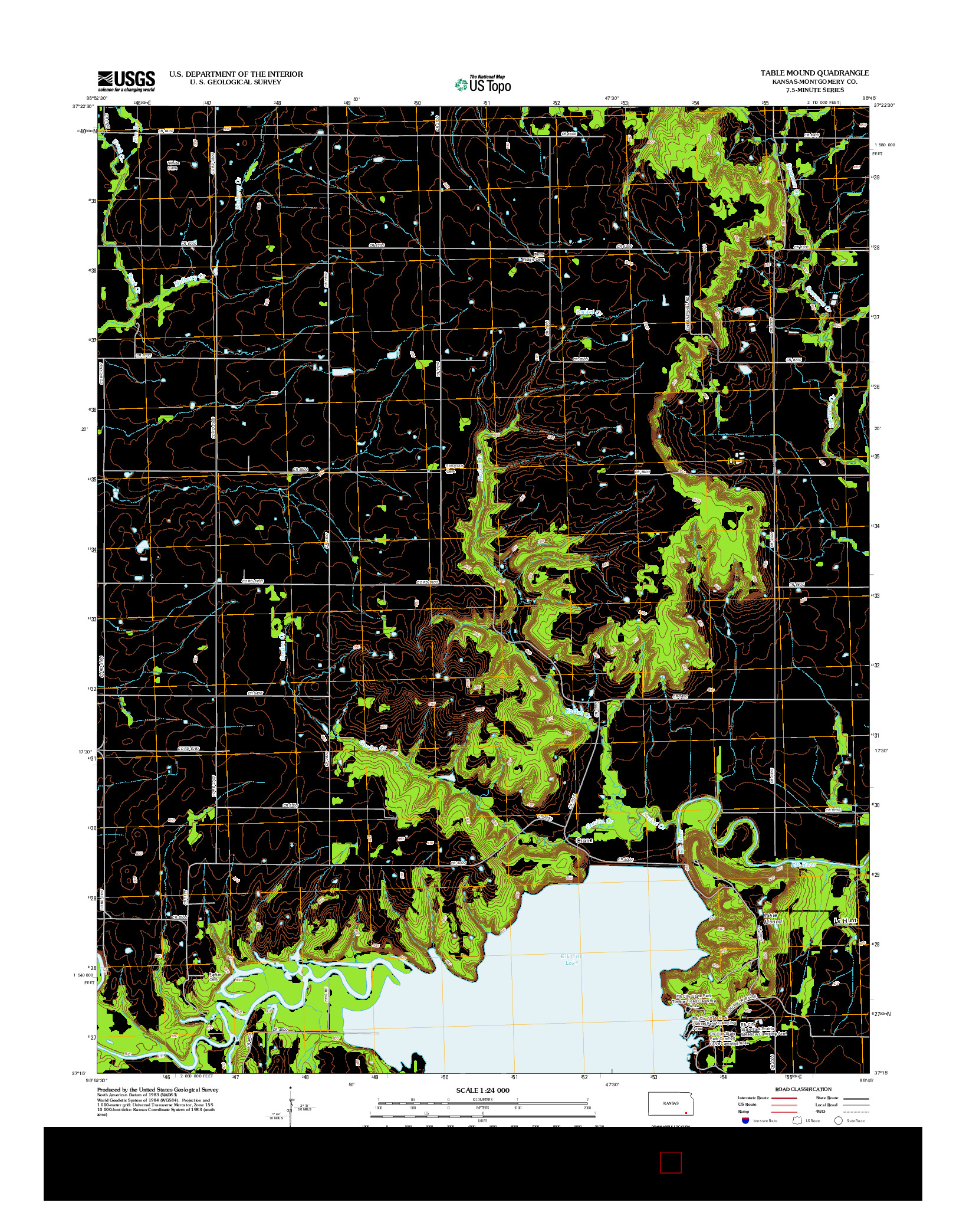 USGS US TOPO 7.5-MINUTE MAP FOR TABLE MOUND, KS 2012