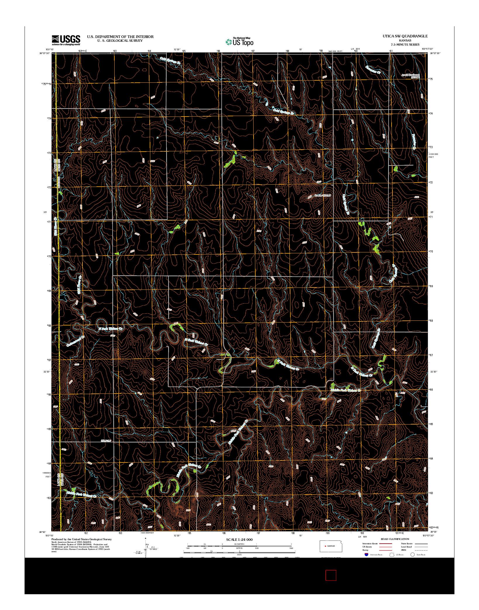 USGS US TOPO 7.5-MINUTE MAP FOR UTICA SW, KS 2012
