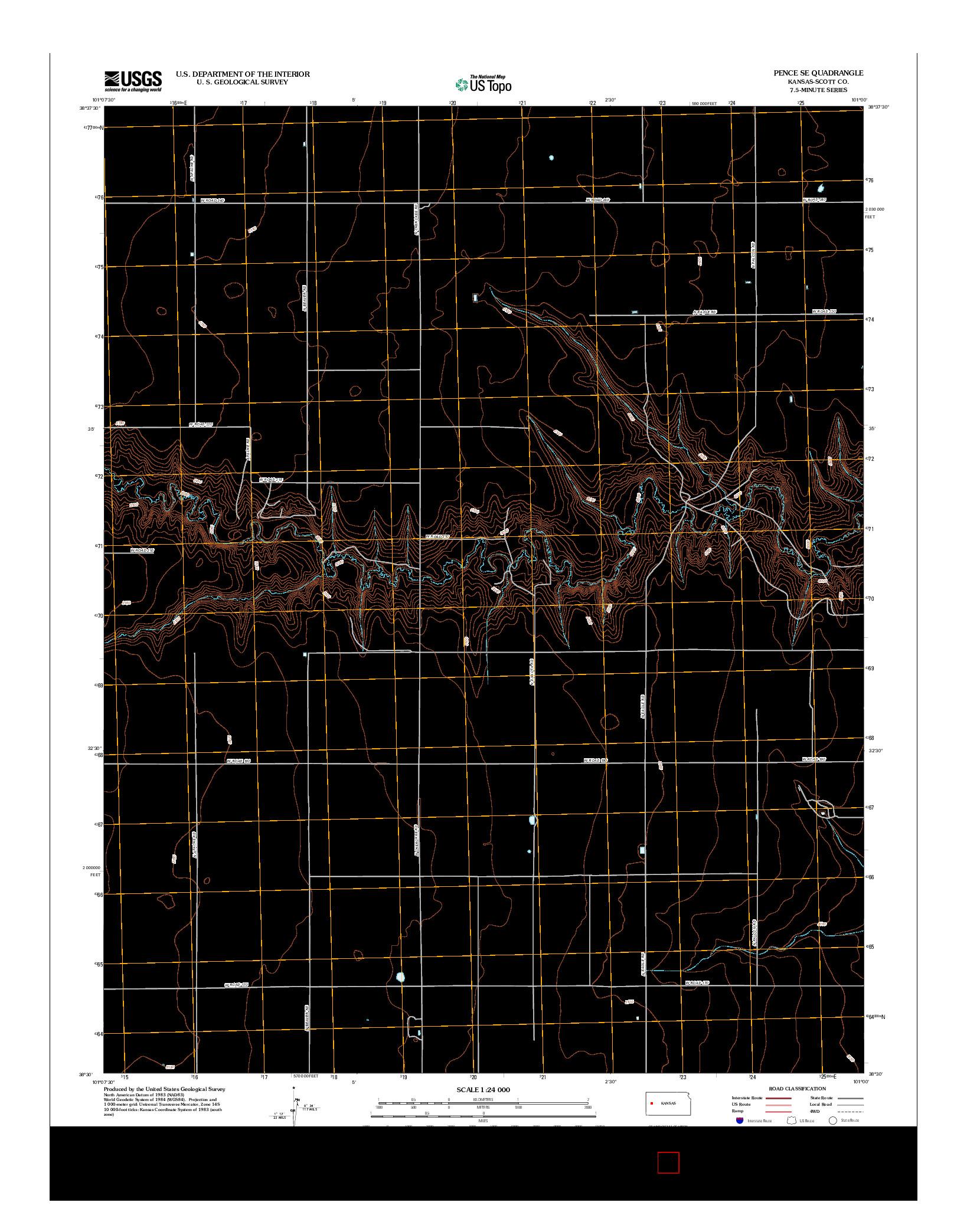 USGS US TOPO 7.5-MINUTE MAP FOR PENCE SE, KS 2012
