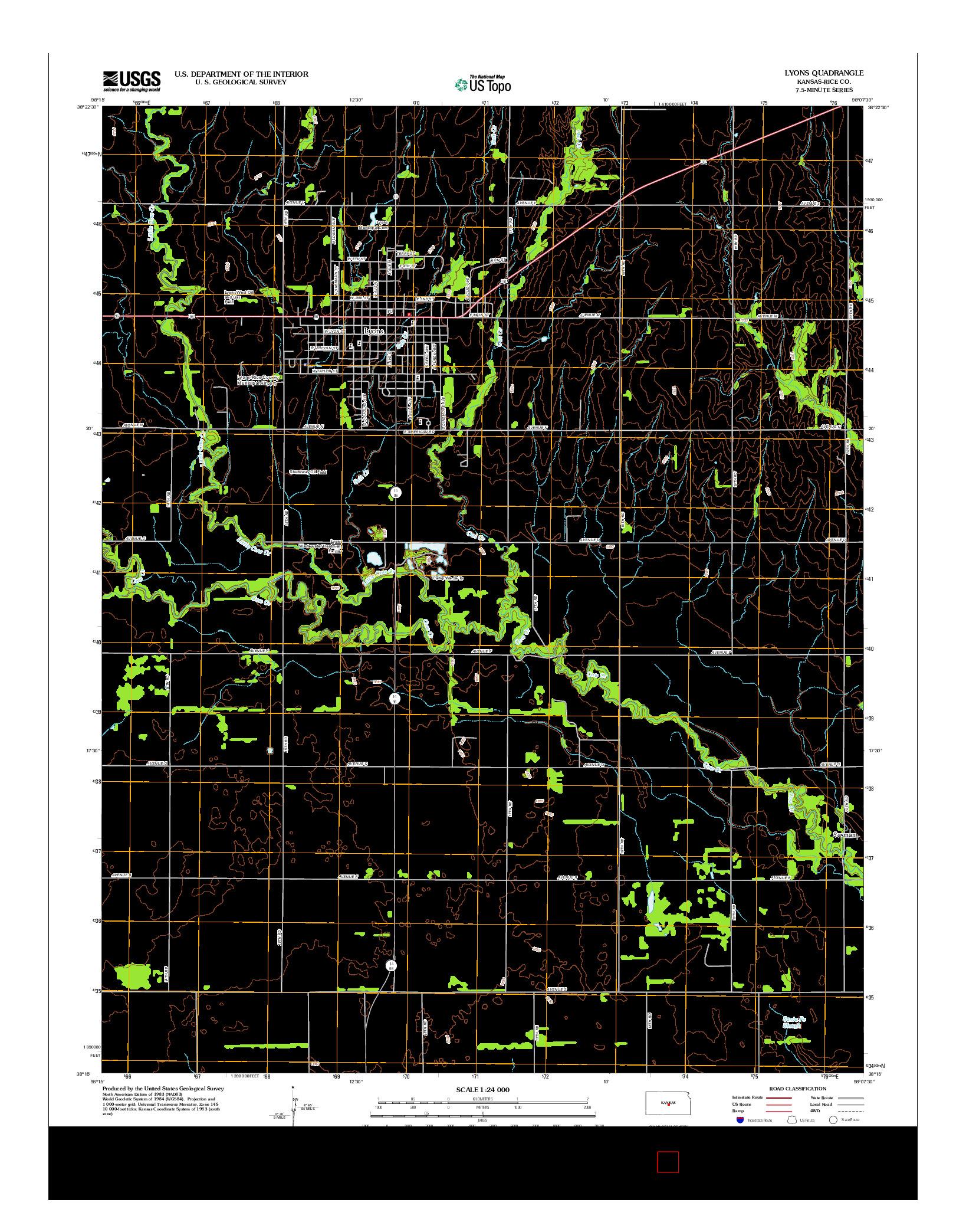 USGS US TOPO 7.5-MINUTE MAP FOR LYONS, KS 2012