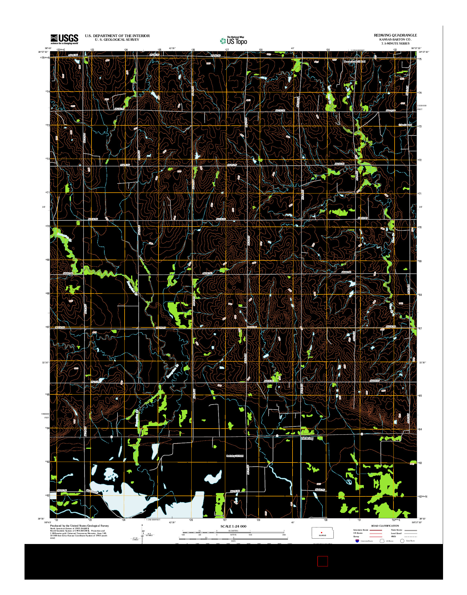 USGS US TOPO 7.5-MINUTE MAP FOR REDWING, KS 2012