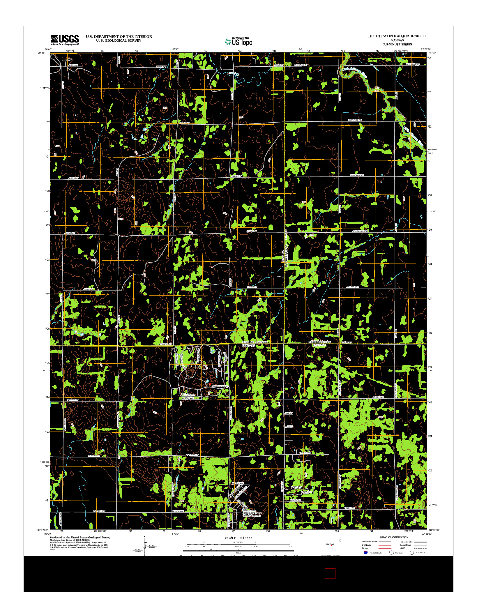 USGS US TOPO 7.5-MINUTE MAP FOR HUTCHINSON NW, KS 2012