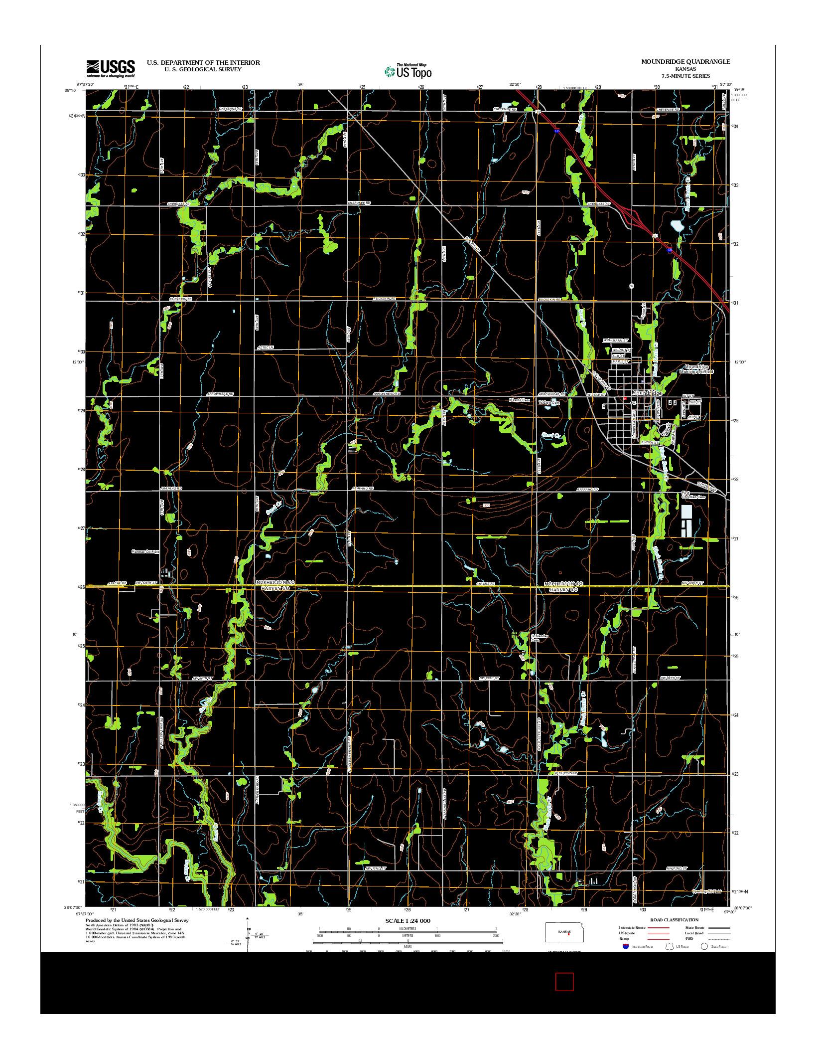 USGS US TOPO 7.5-MINUTE MAP FOR MOUNDRIDGE, KS 2012