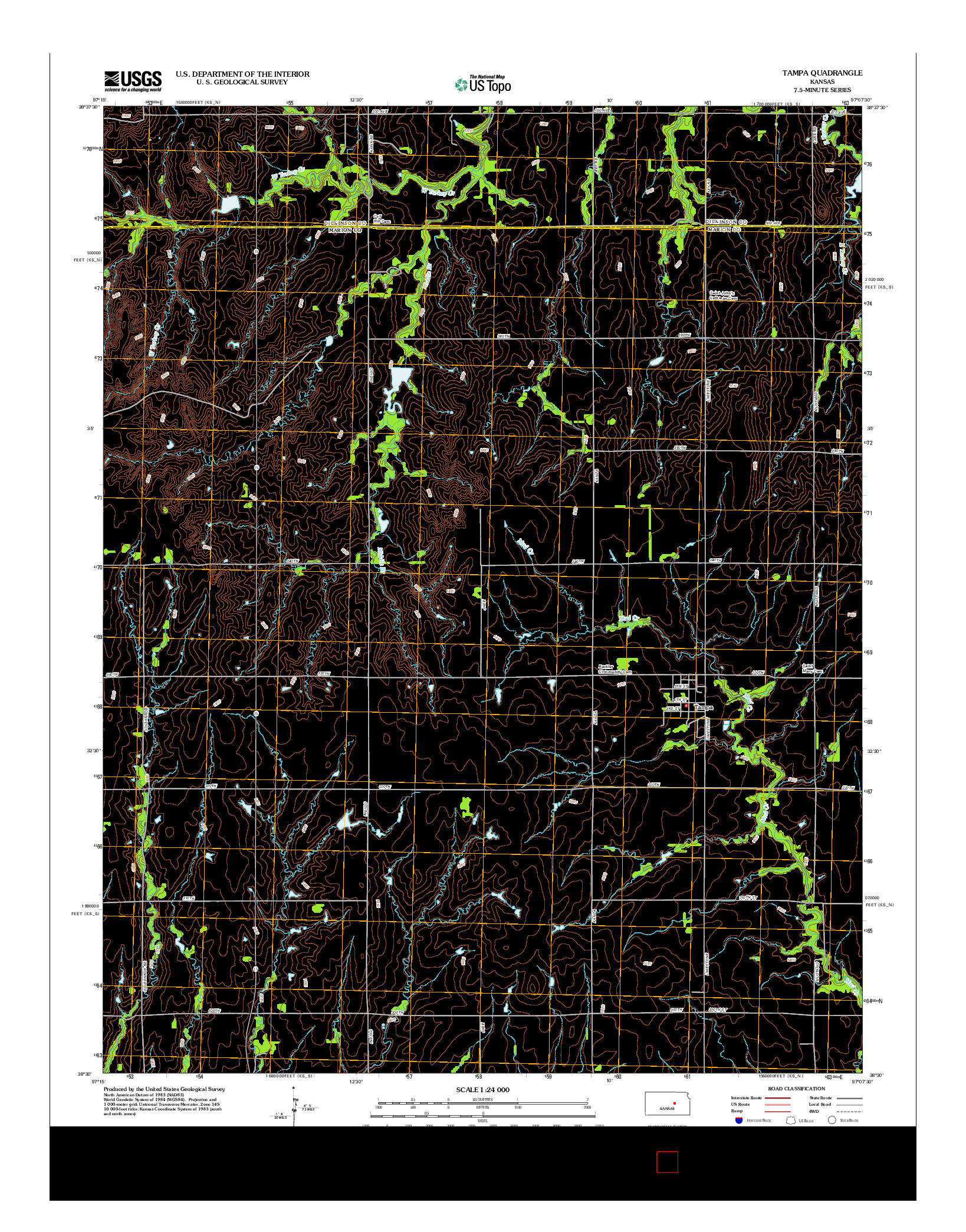 USGS US TOPO 7.5-MINUTE MAP FOR TAMPA, KS 2012